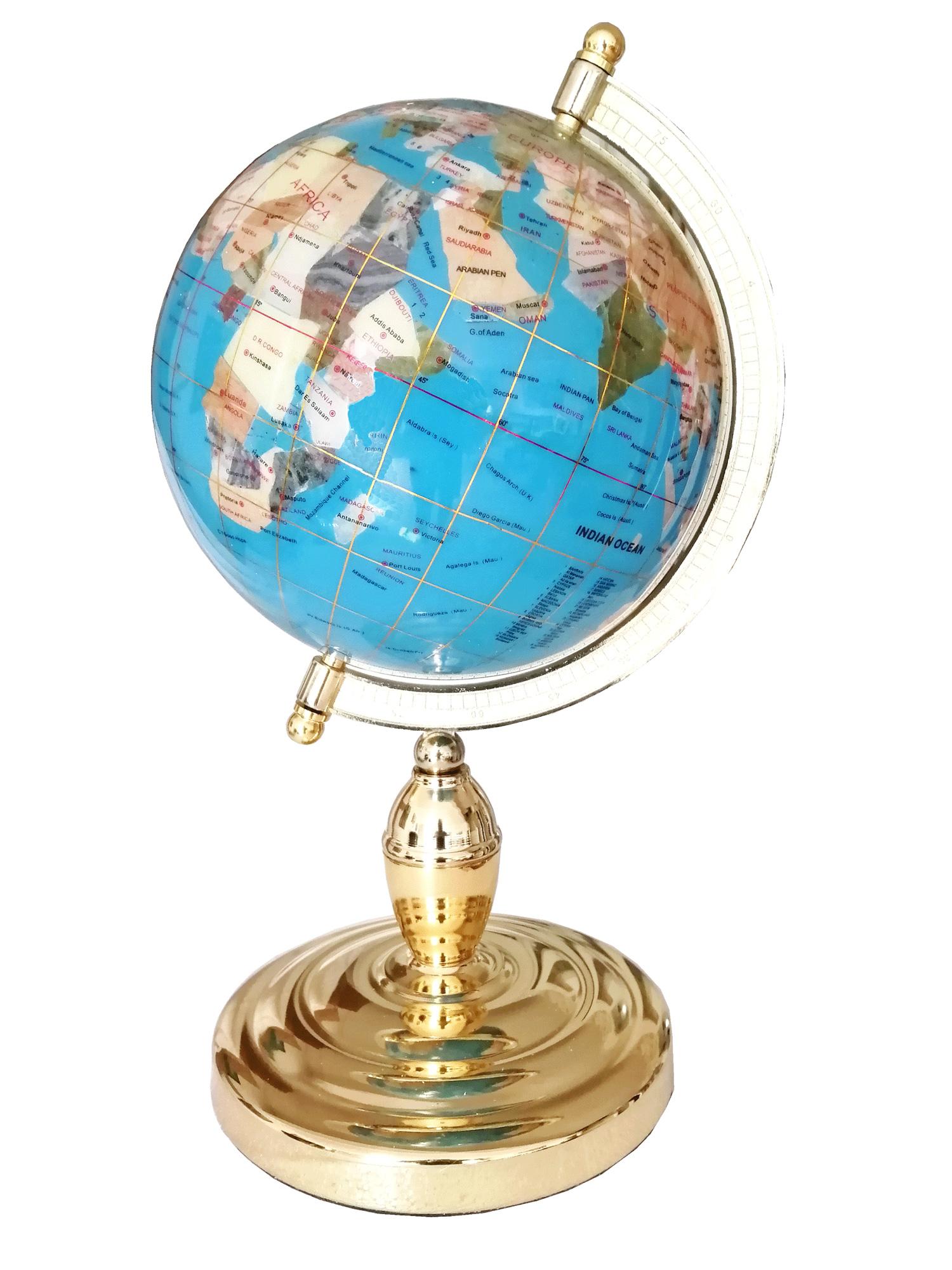 Globe sur 1 pied doré en pierres fines bleu ciel
