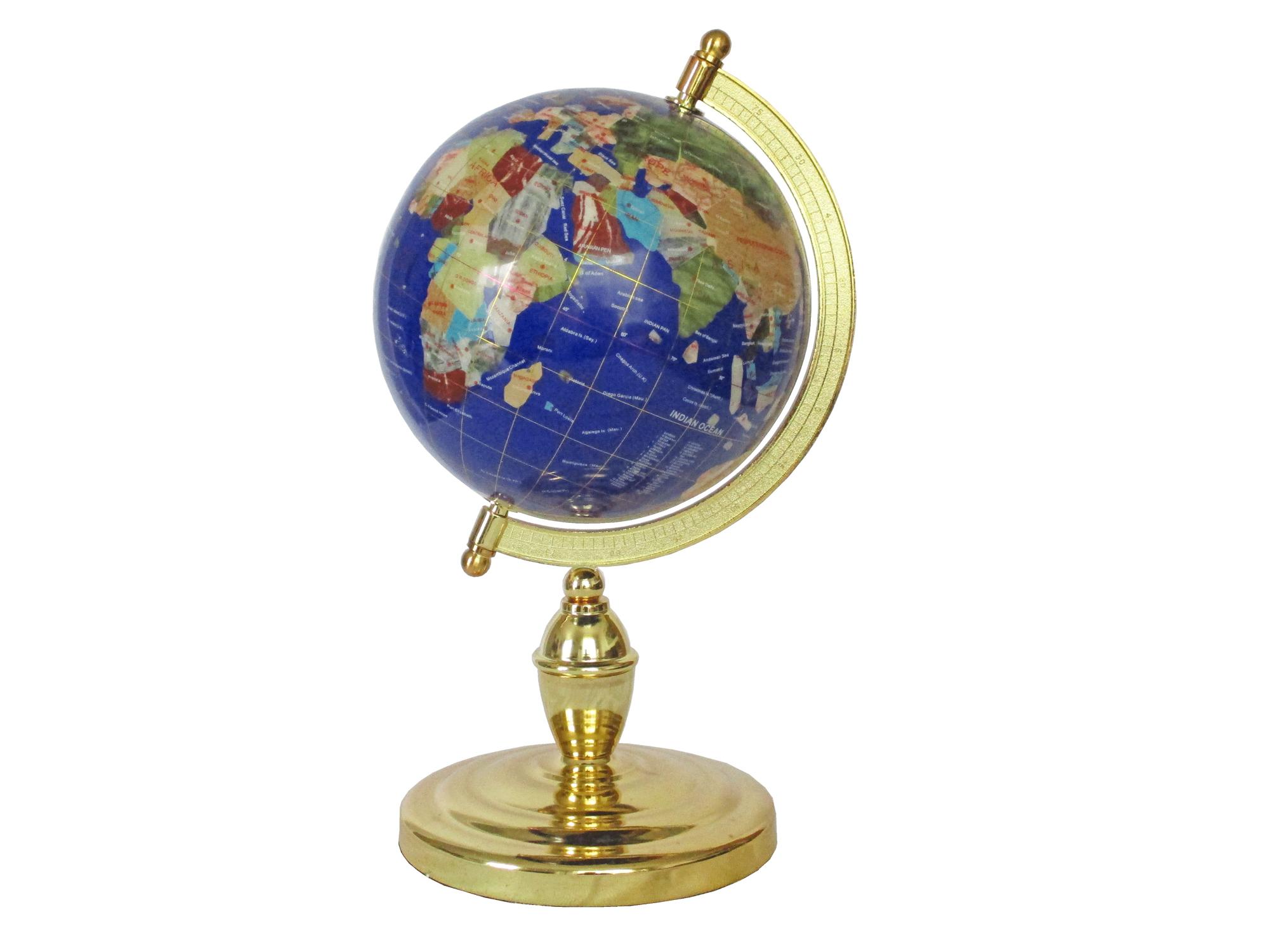 MAGELLAN - Globe sur 1 pied doré en pierres fines bleu lapis