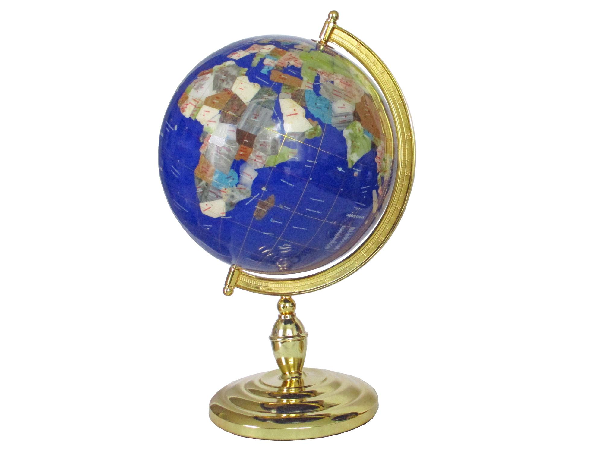 Globe sur 1 pied doré en pierres fines bleu lapis