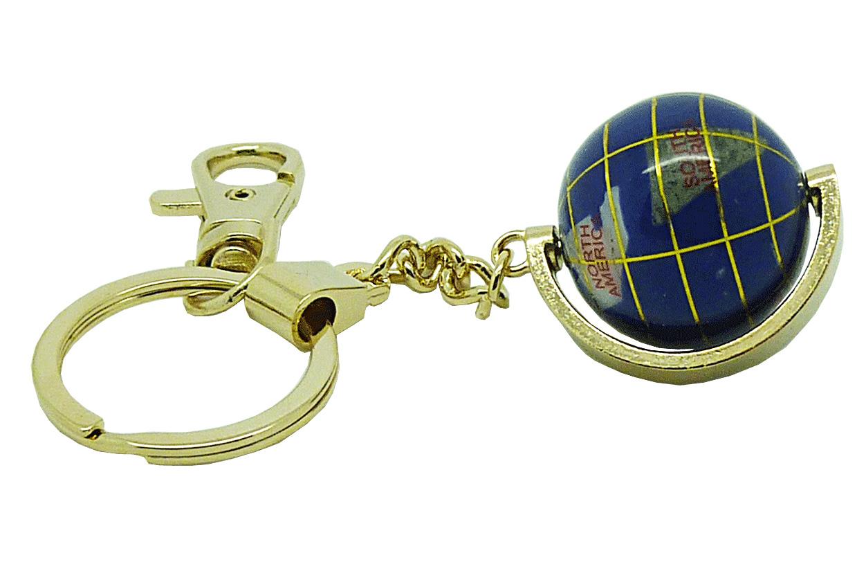 Globe terrestre porte clés doré en pierres fines bleu lapis