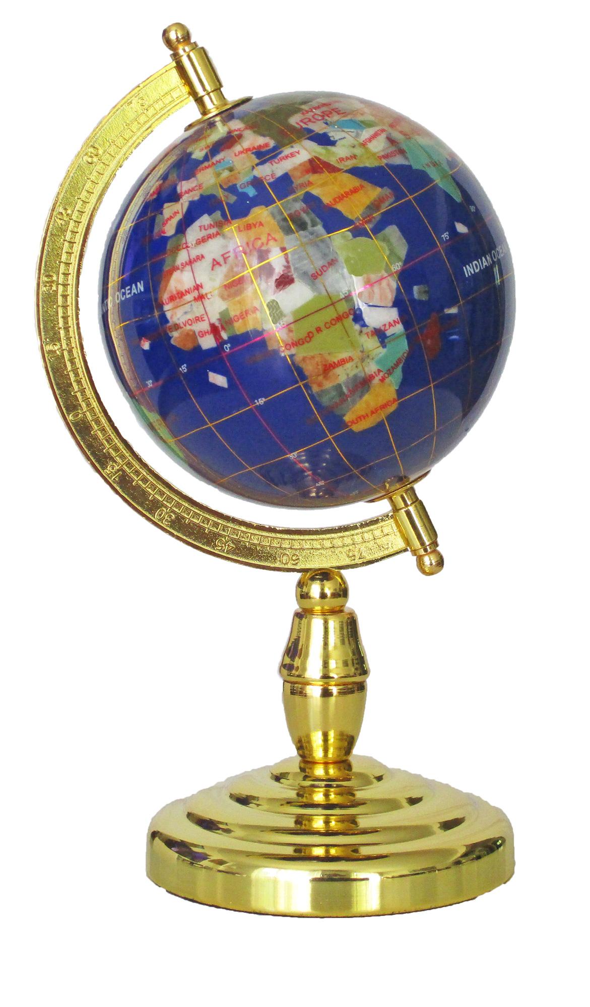 Globe sur 1 pied en pierres fines bleu lapis