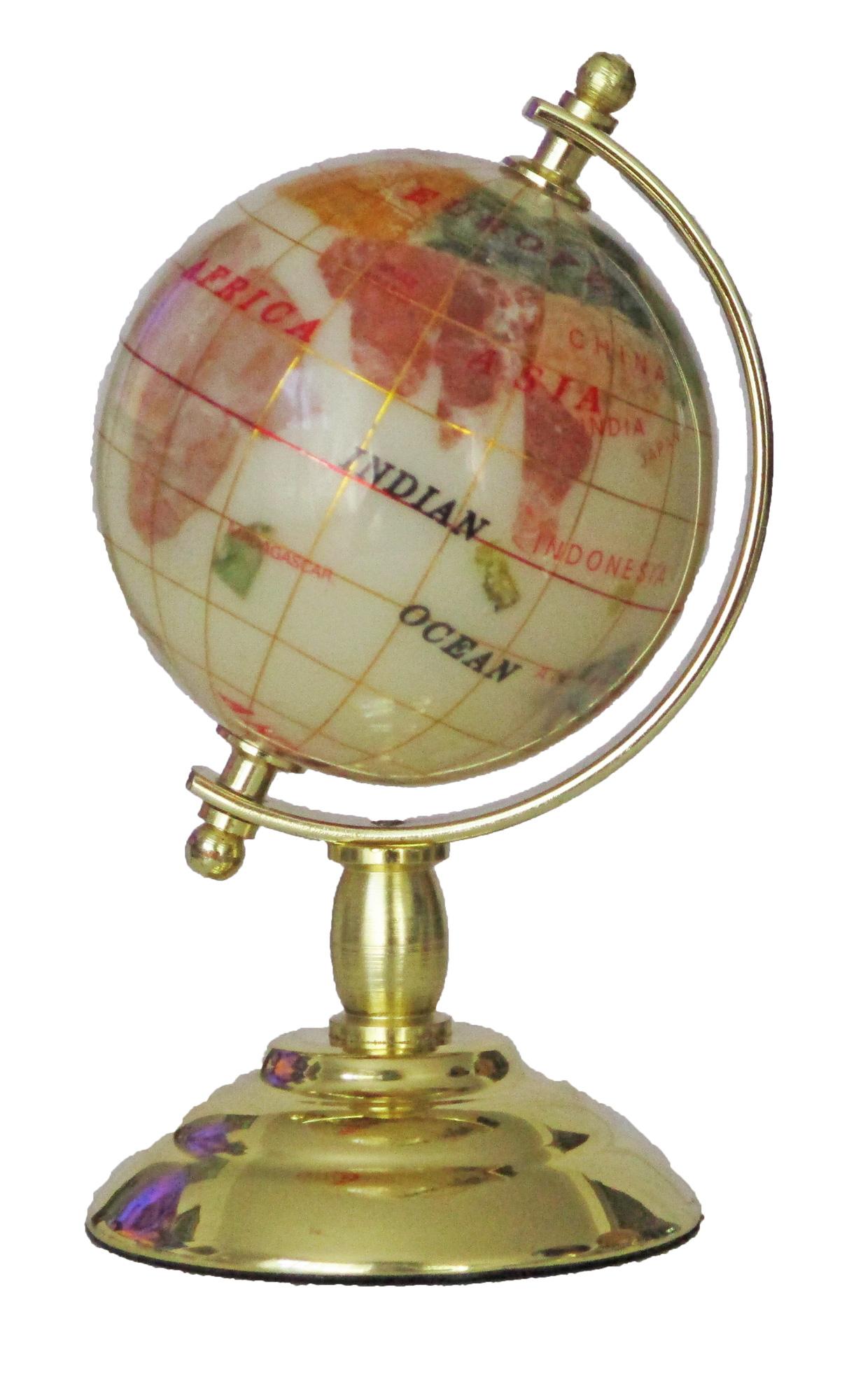 Globe sur 1 pied doré en pierres fines nacre