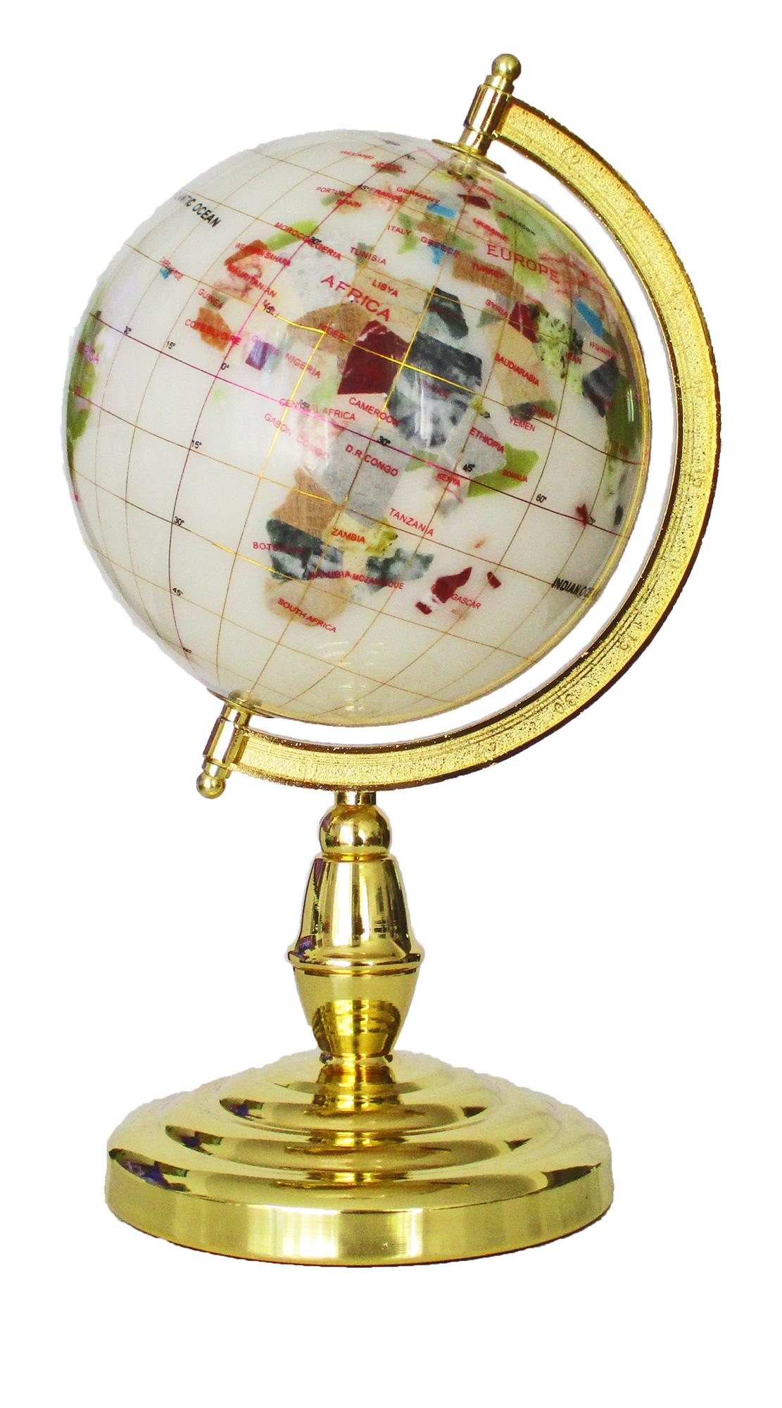 Globe sur 1 pied doré en pierres fines blanc