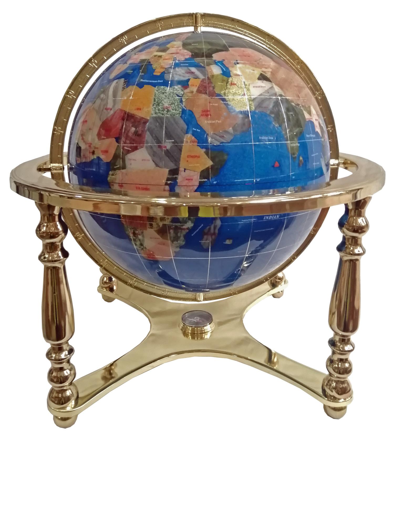 Globe terrestre sur 4 pieds doré en pierres fines bleu navy