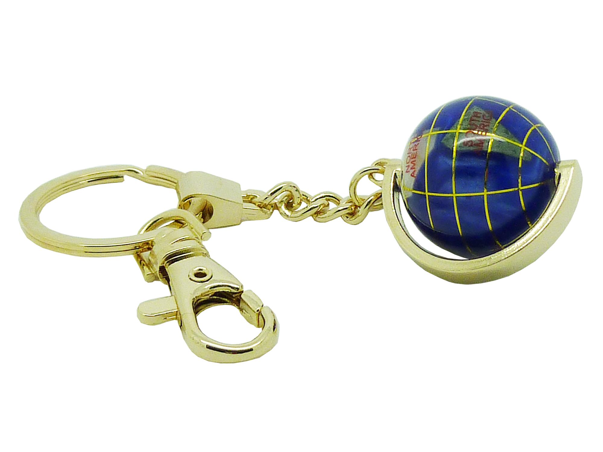 Globe terrestre porte clés doré en pierres fines bleu navy