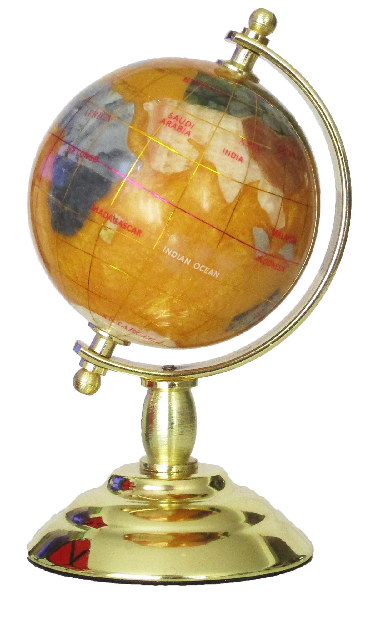 Globe sur 1 pied doré en pierres fines cuivre