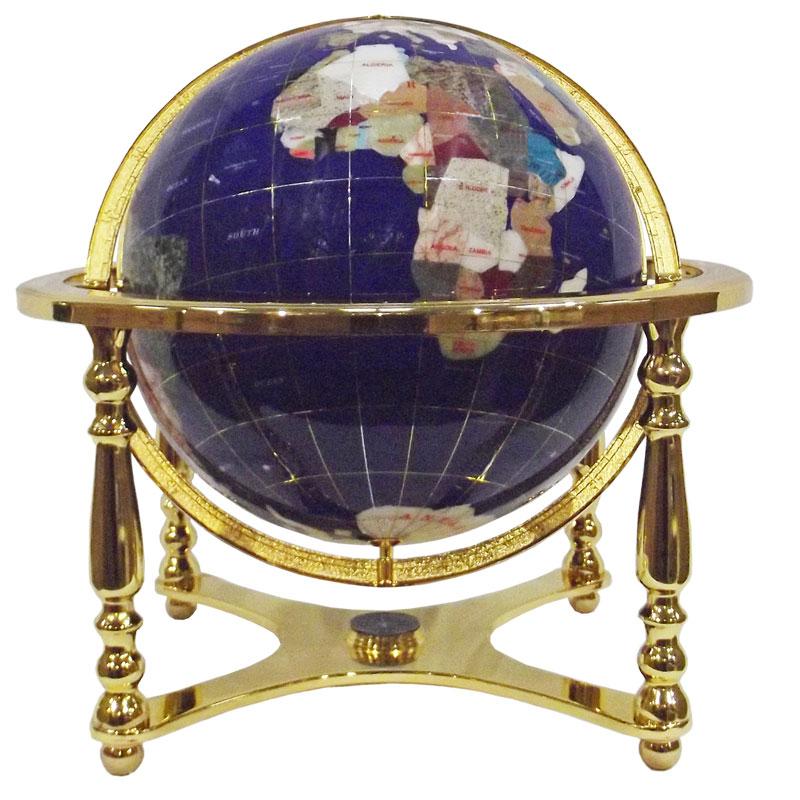 Globe sur 4 pieds doré en pierres fines bleu lapis