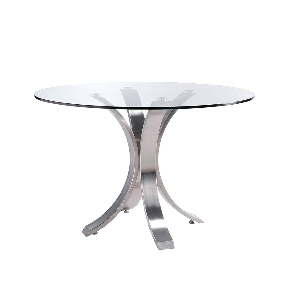 Table à manger en verre trempé et pieds en acier D140