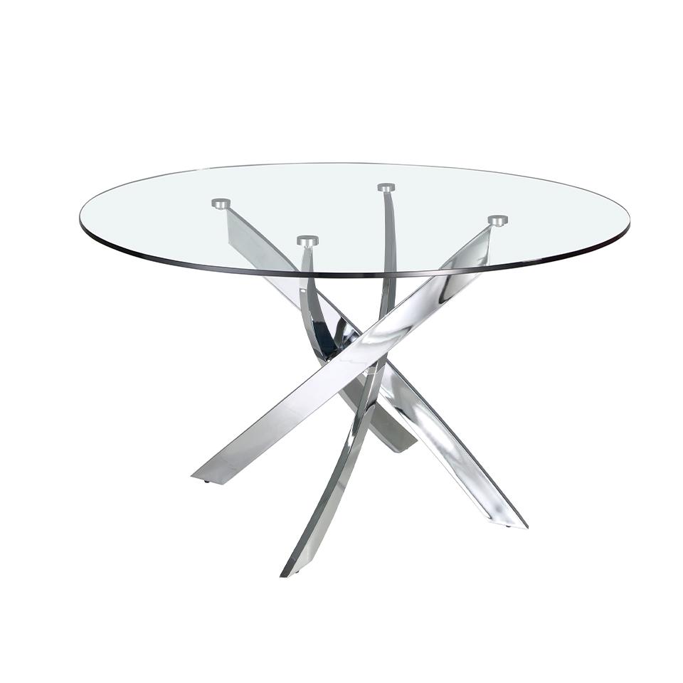 Table à manger en verre trempé et pieds en acier inoxydable D140