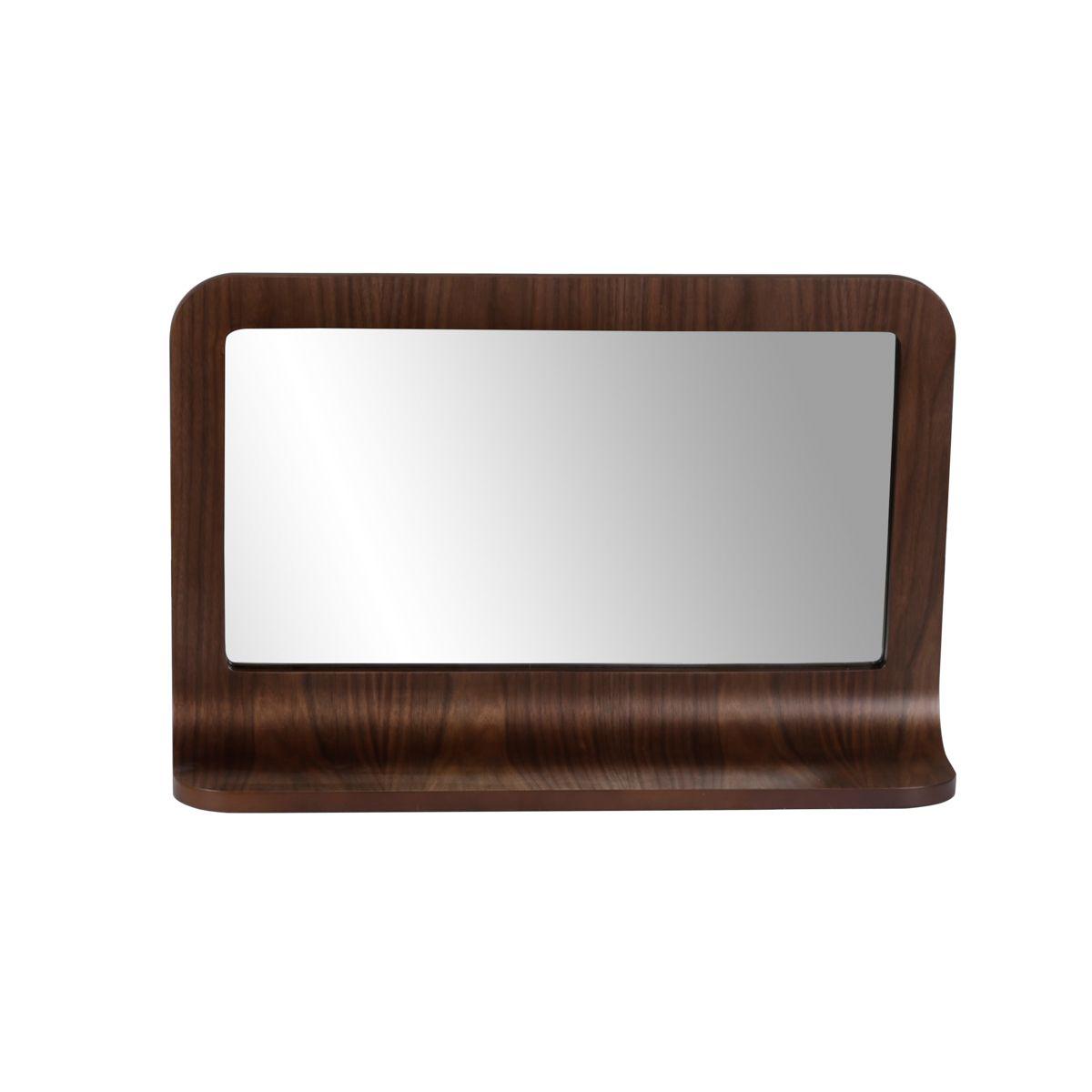 Miroir plaqué noyer 72 x 45 cm avec tablette