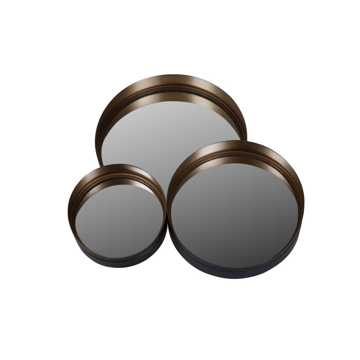 Miroirs ronds en métal couleur laiton (set de 3)