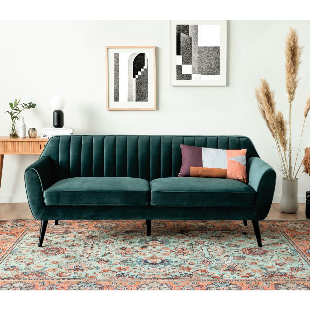 Canapé 3 places en velours vert eucalyptus