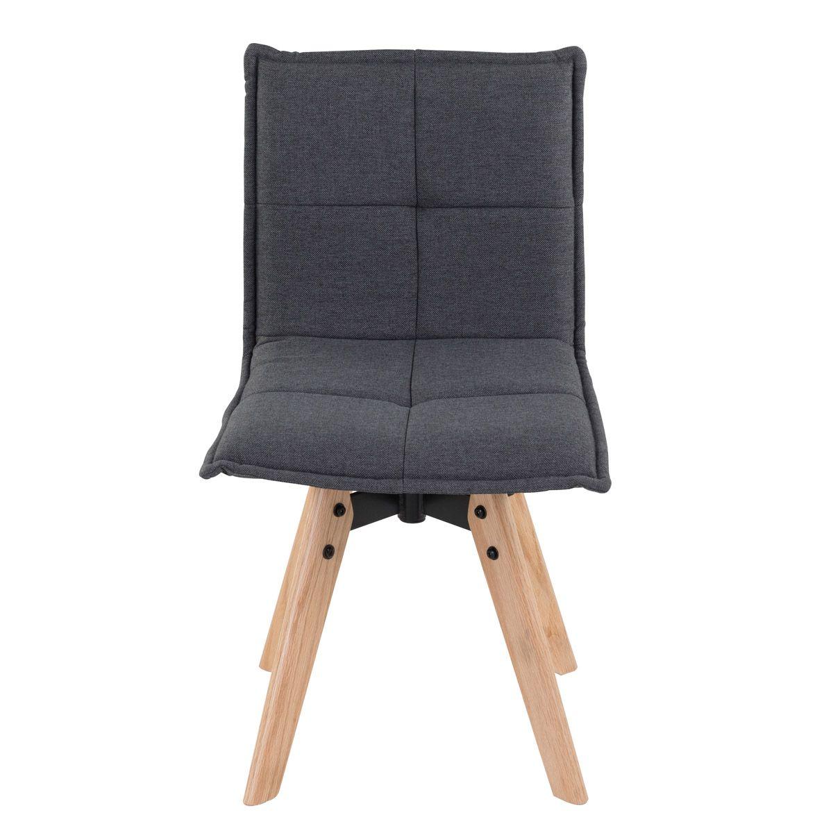 Chaise tissu gris foncé piétement chêne