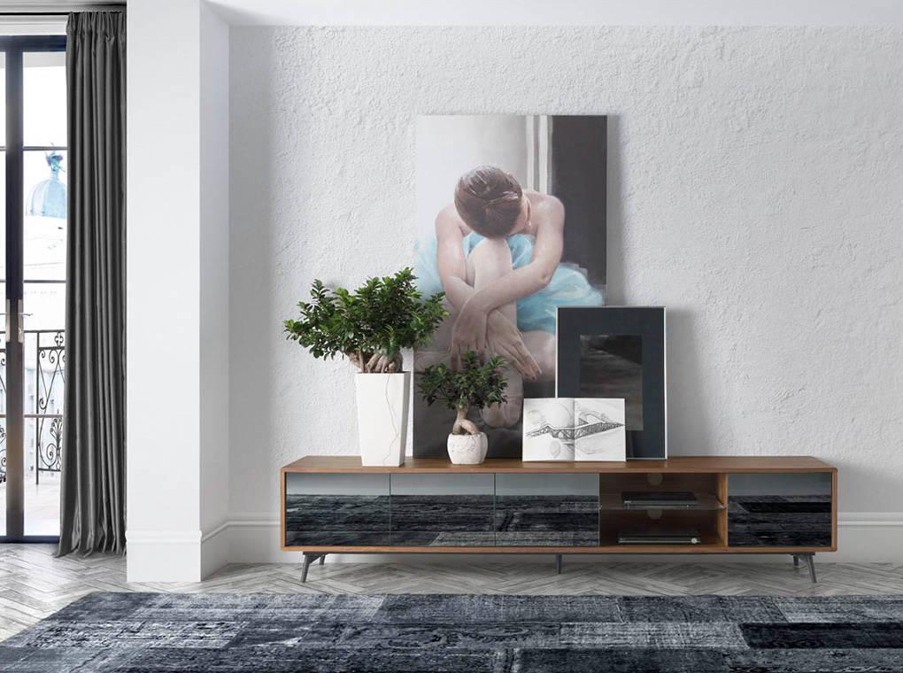 Meuble TV placage noyer avec parois en miroir gris