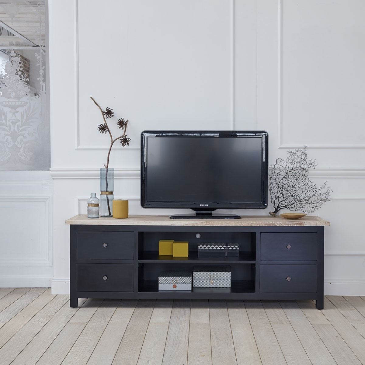 Meuble TV 4 tiroirs et 2 niches en acajou et teck