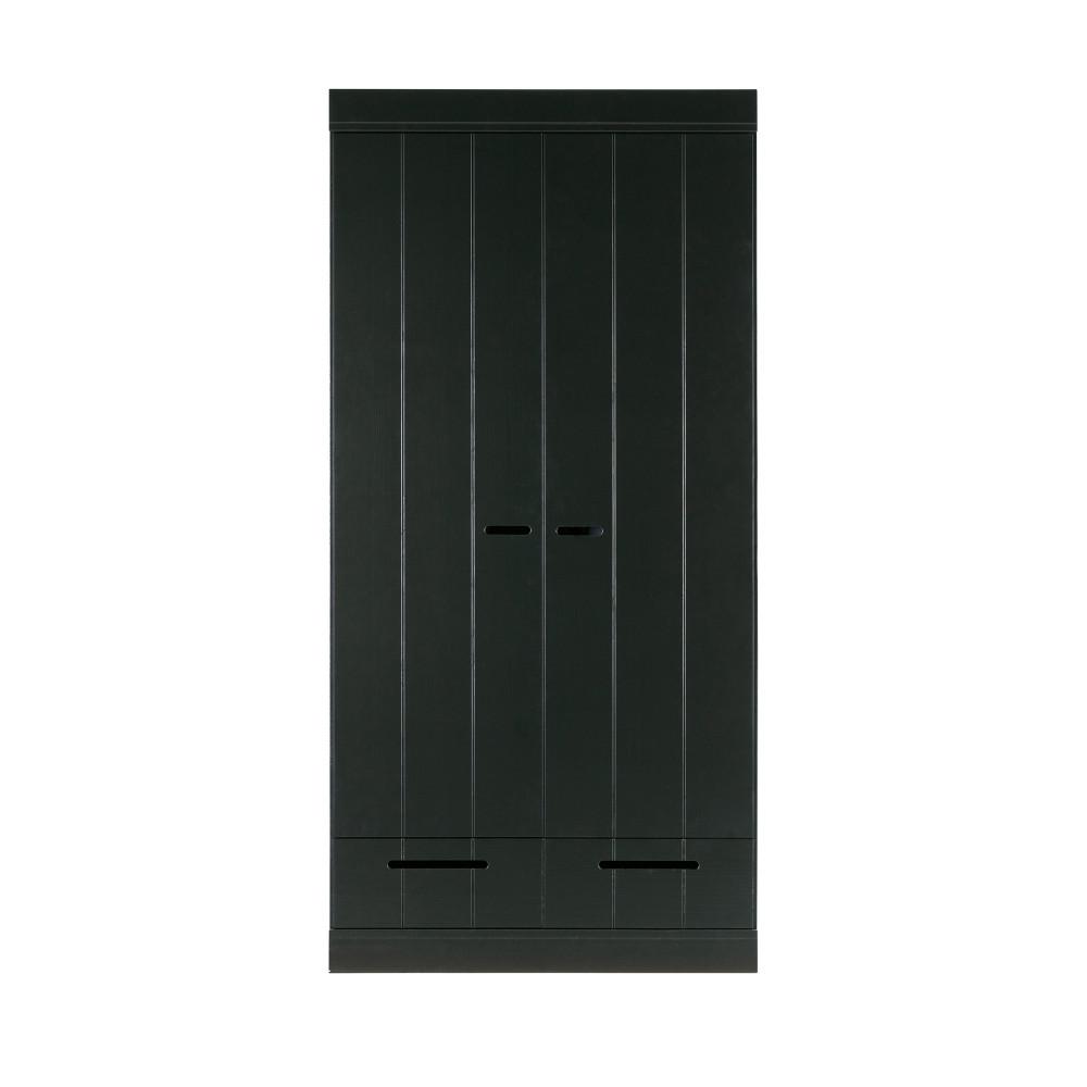 Armoire en pin 2 portes 2 tiroirs noir (photo)