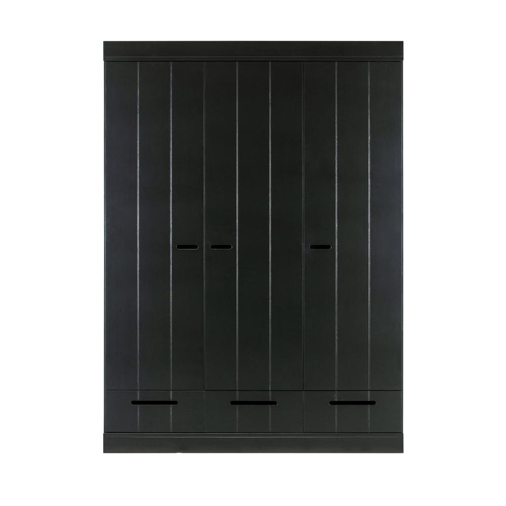Armoire vestiaire 3 portes  et  3 tiroirs noir