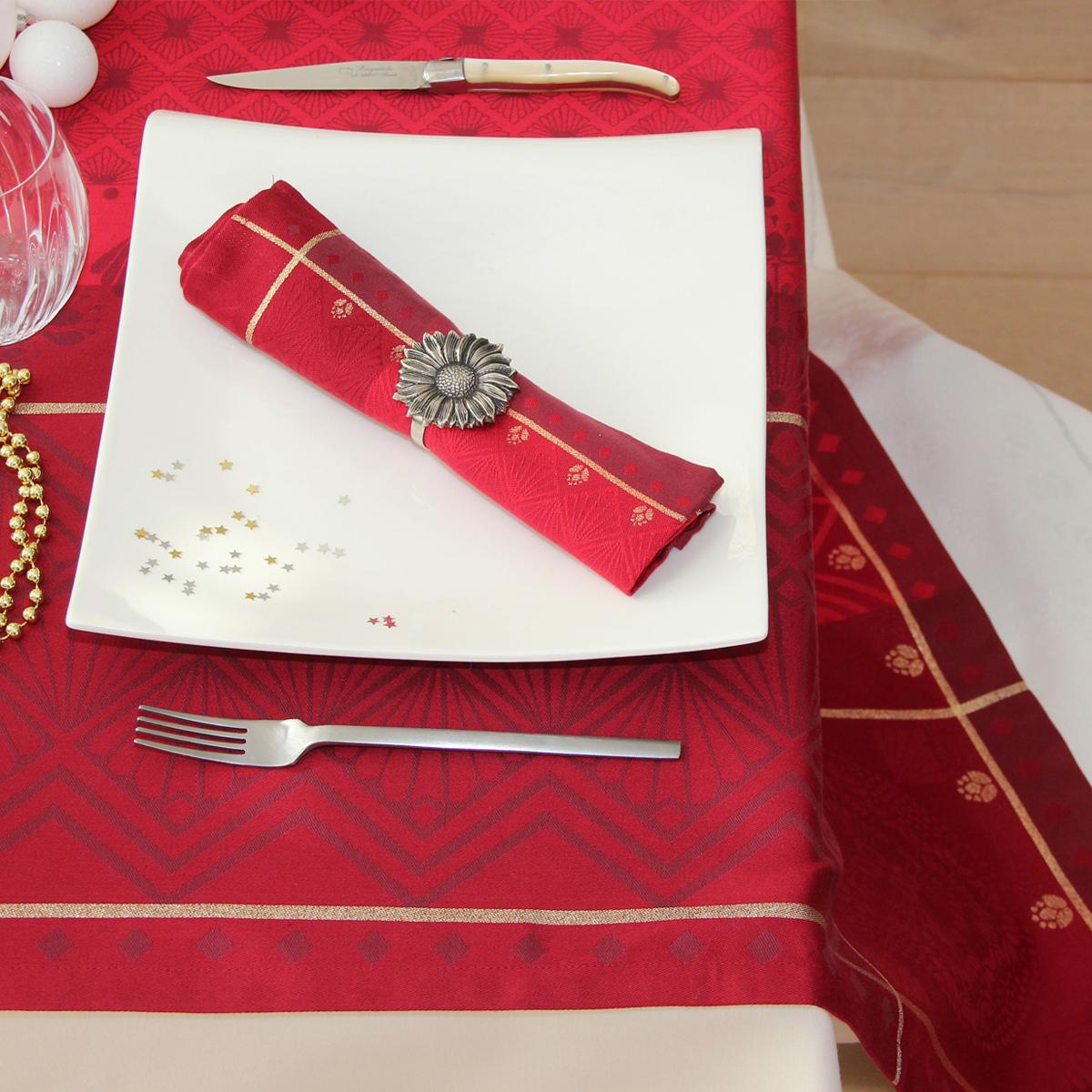 Chemin de table à motifs festifs polyester rouge 150x50