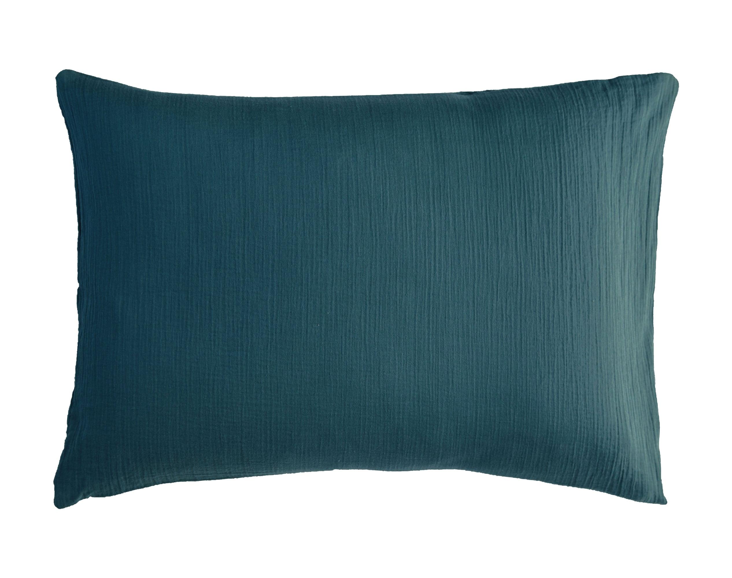 Taie d'oreiller 50x70 en gaze de coton bleu canard