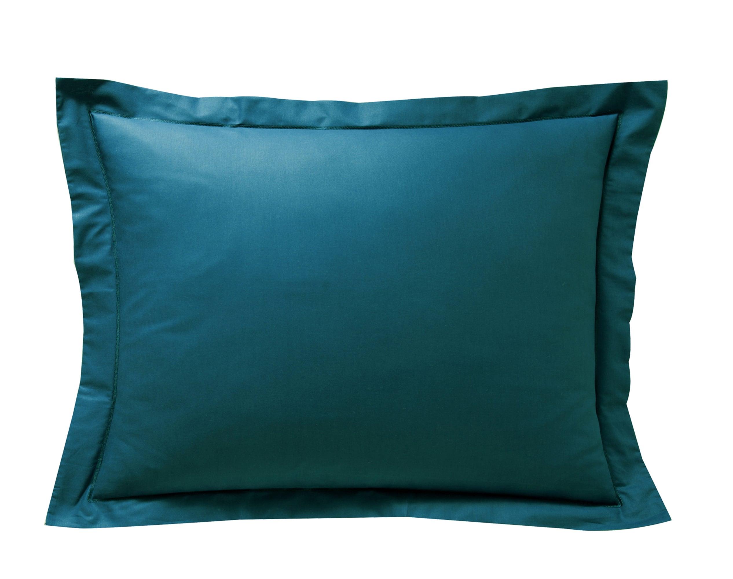 Taie d'oreiller 50x70 en percale de coton  bleu canard