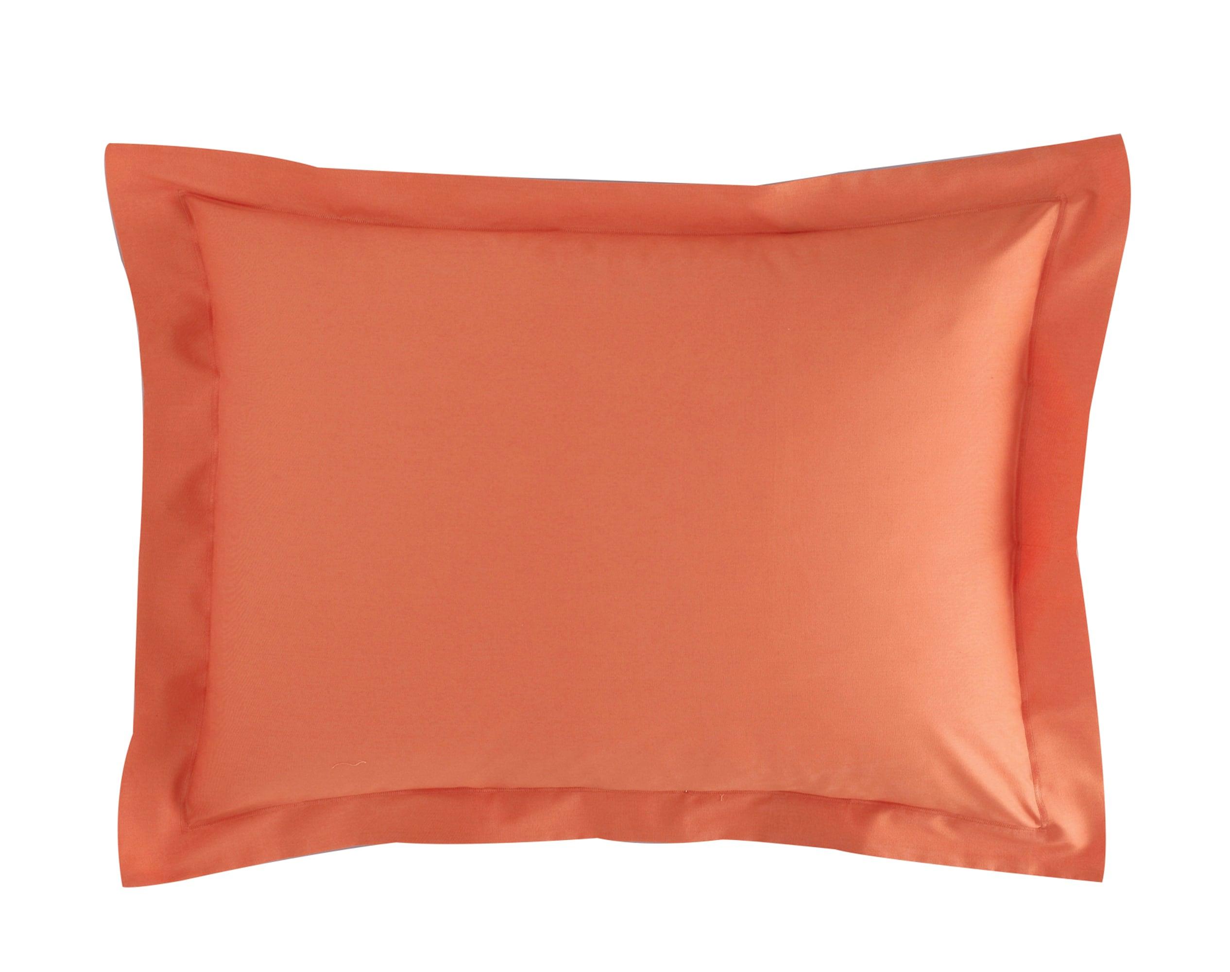 Taie d'oreiller 50x70 en percale de coton  orange terracotta