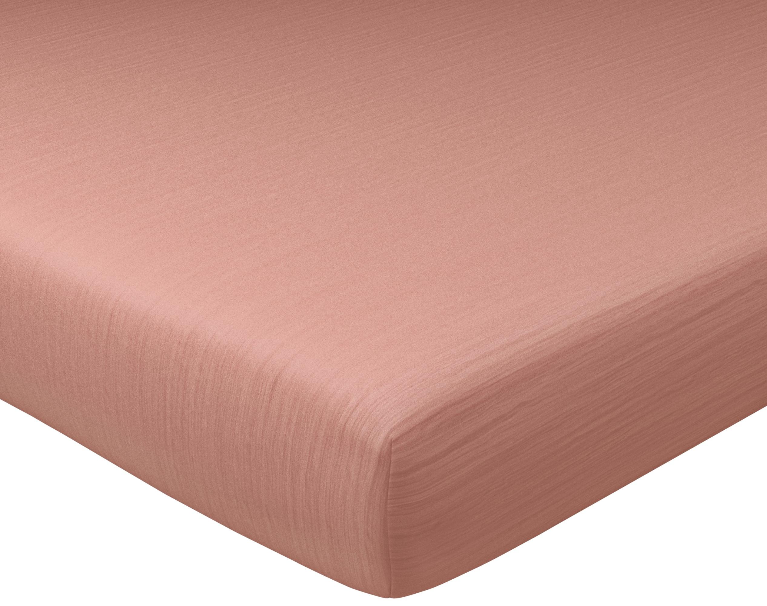 Drap-housse 90x200 en gaze de coton rose poudré
