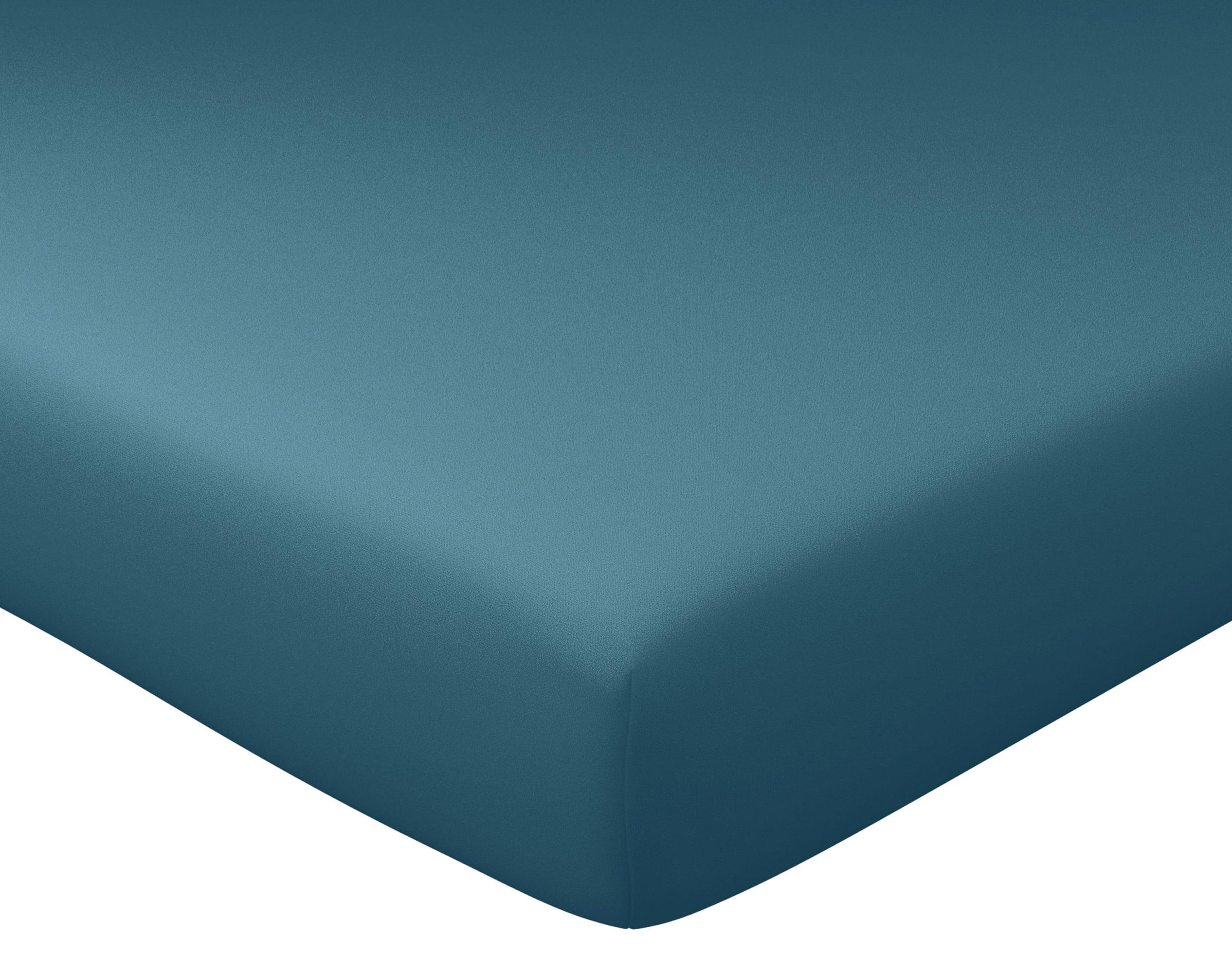 Drap-housse 140x190 en percale de coton  bleu canard