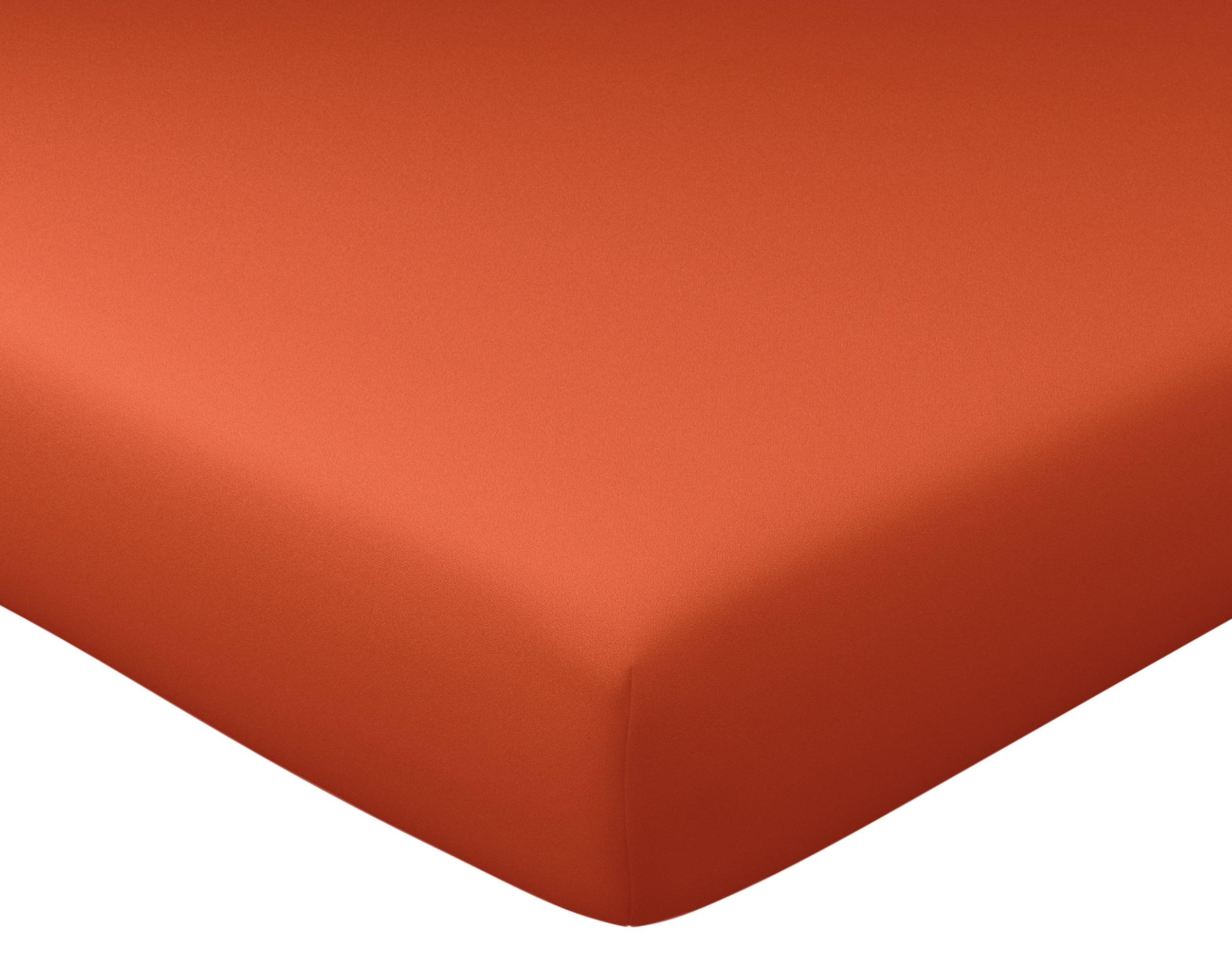 Drap-housse 160x200 en percale de coton  orange terracotta