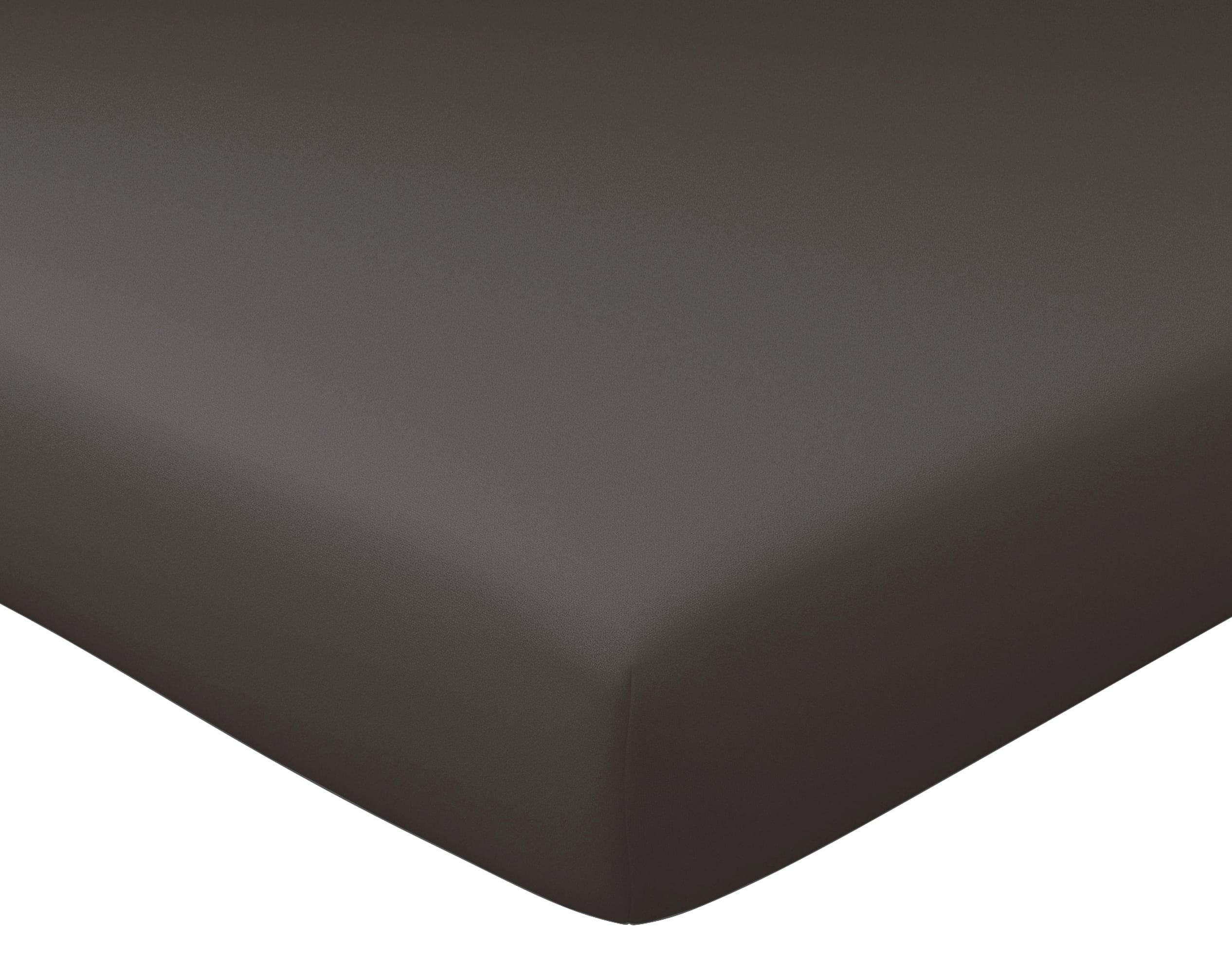 Drap-housse 160x200 en percale de coton  gris souris