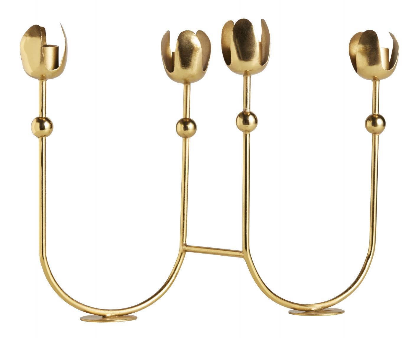 Bougeoir en métal doré H25cm