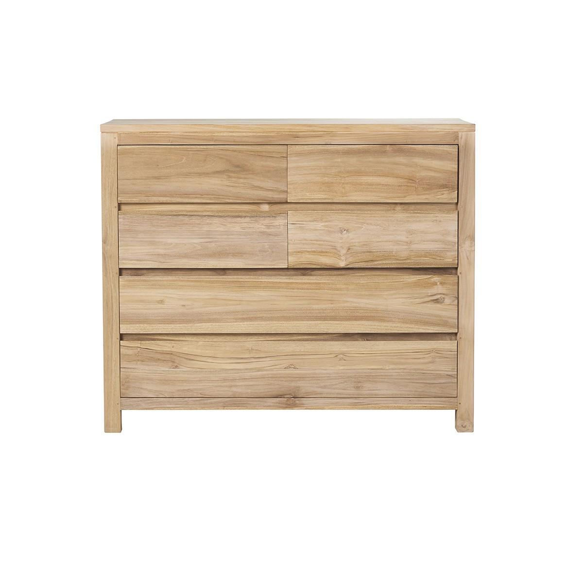 Commode en bois de teck 6 tiroirs