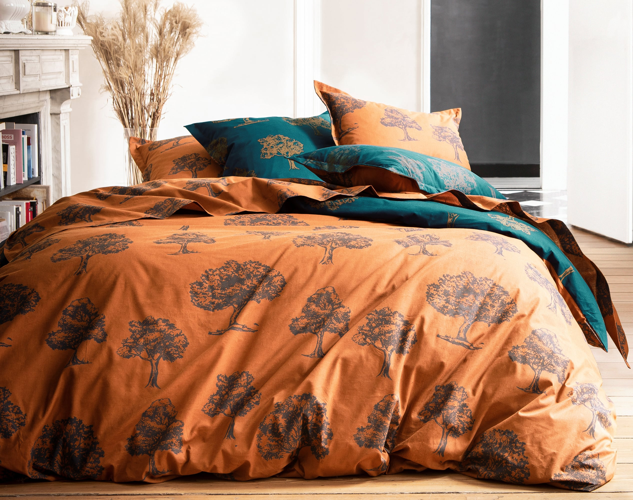 Housse de couette 140x200 en coton marron caramel