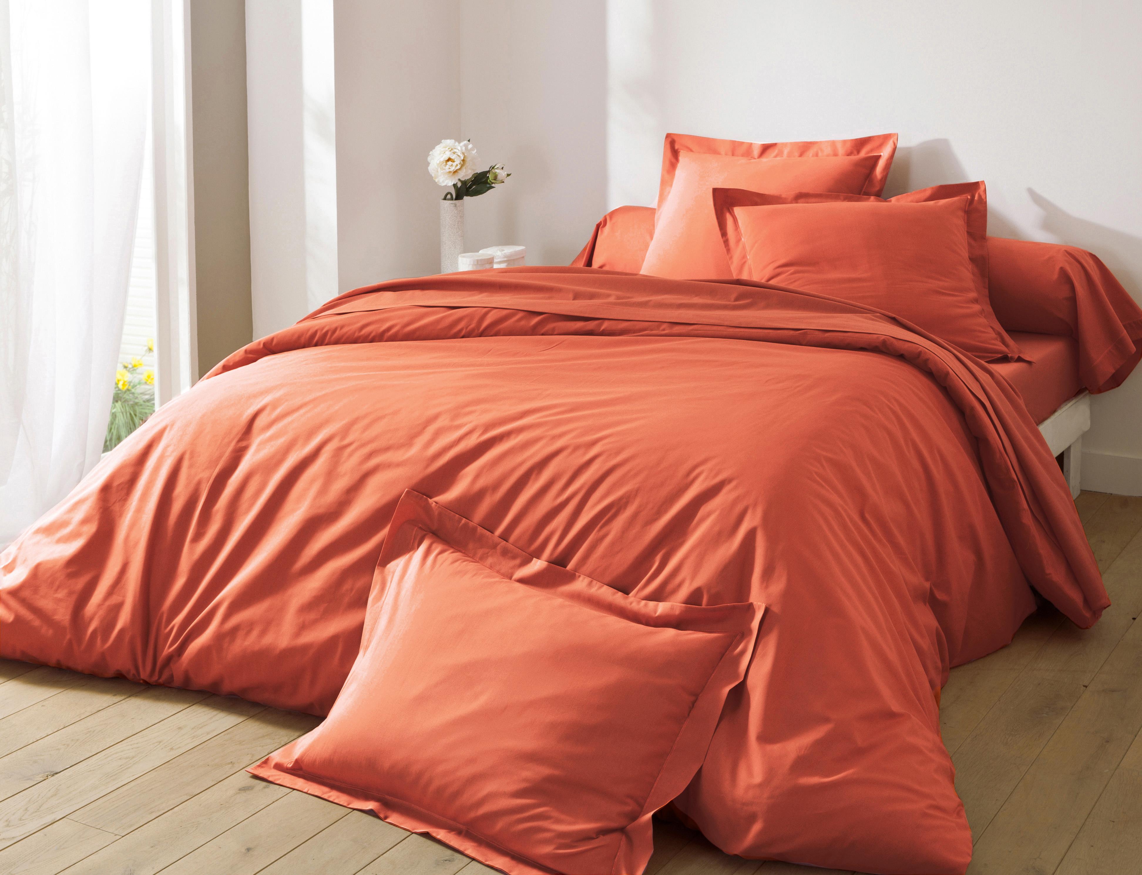 Housse de couette 260x240 en percale de coton  orange terracotta