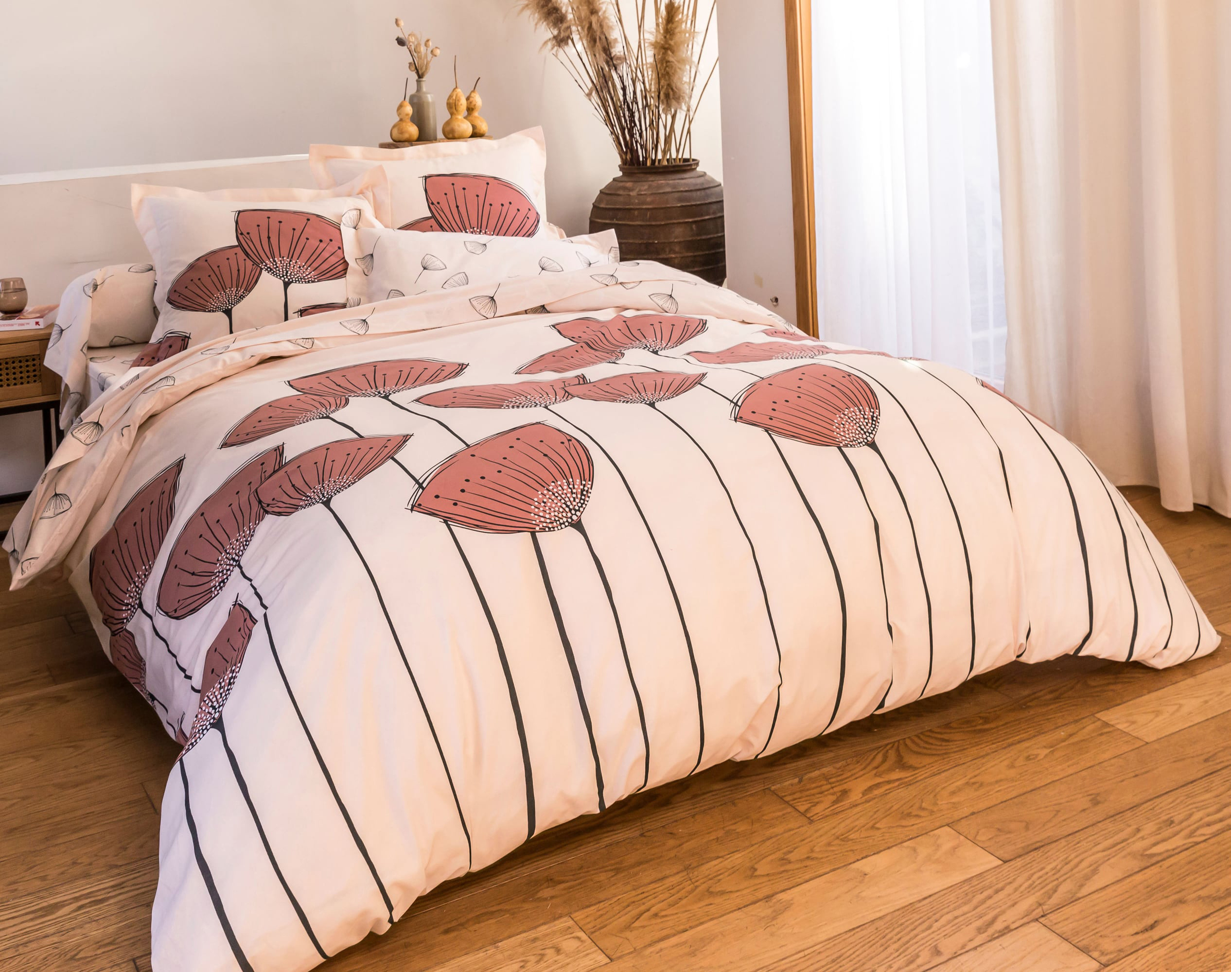 Housse de couette 260x240 en coton rose
