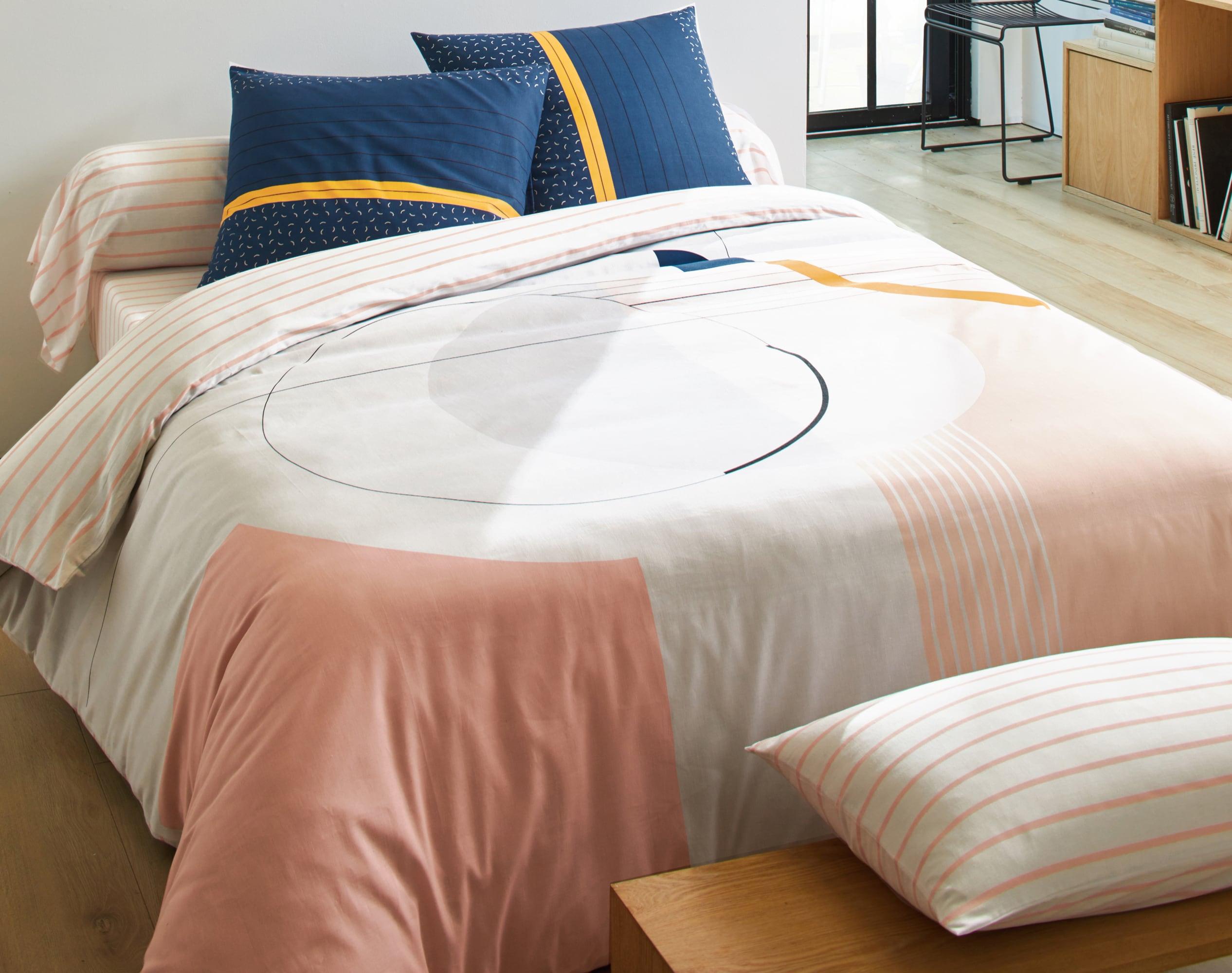 Housse de couette 140x200 en coton rose blush