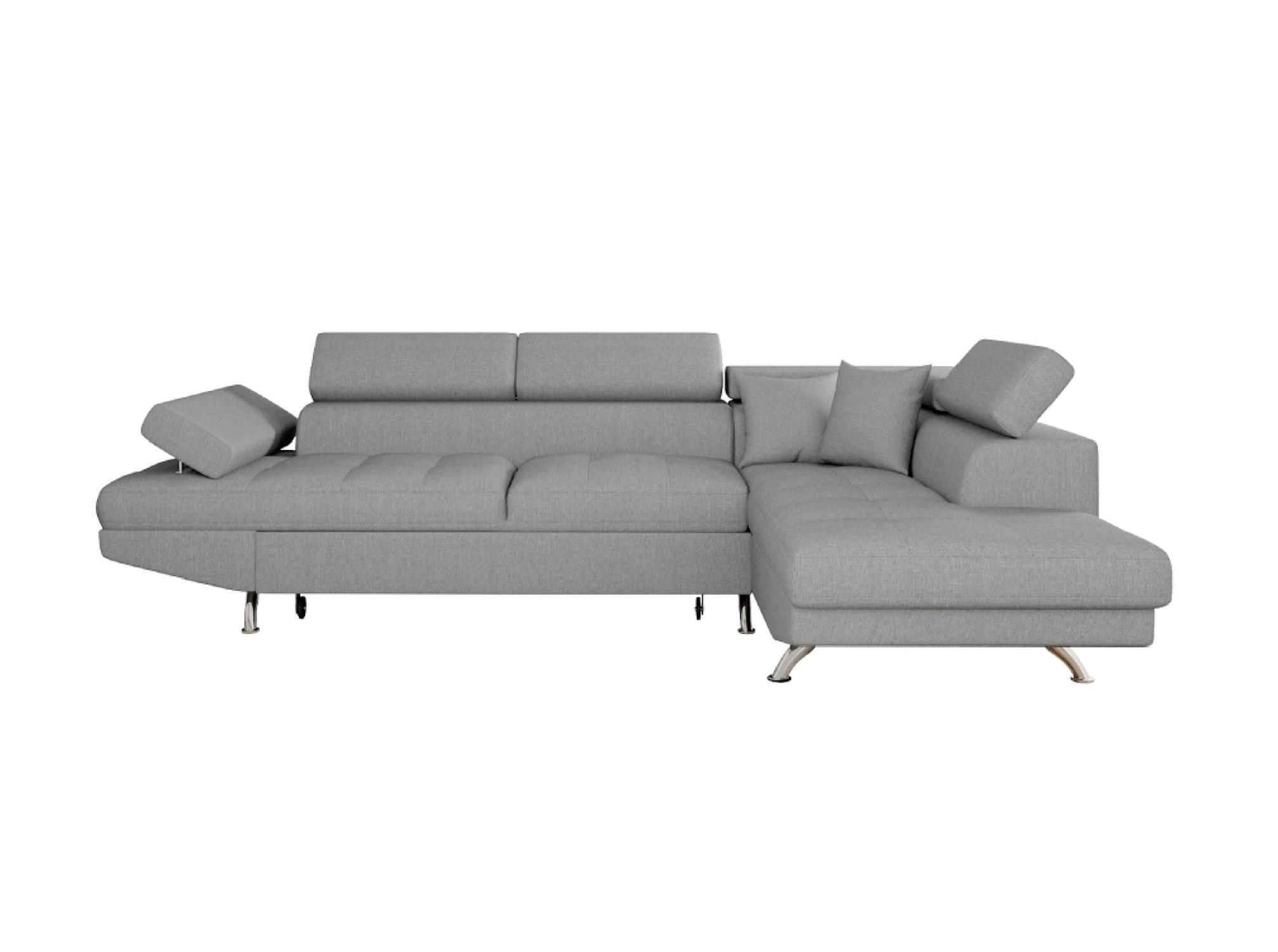 Canapé d'angle droit convertible avec coffre gris clair