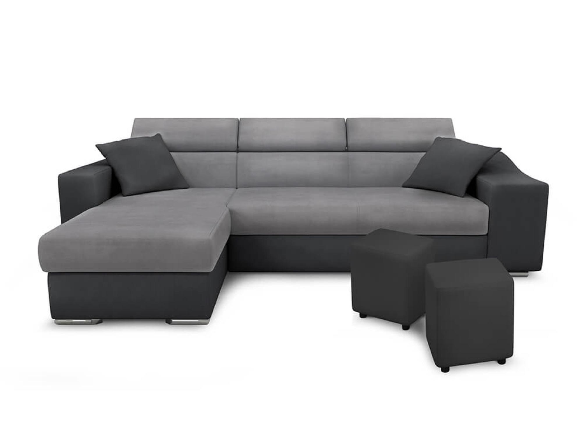 Canapé d'angle 4 places Gris Simili Moderne Confort