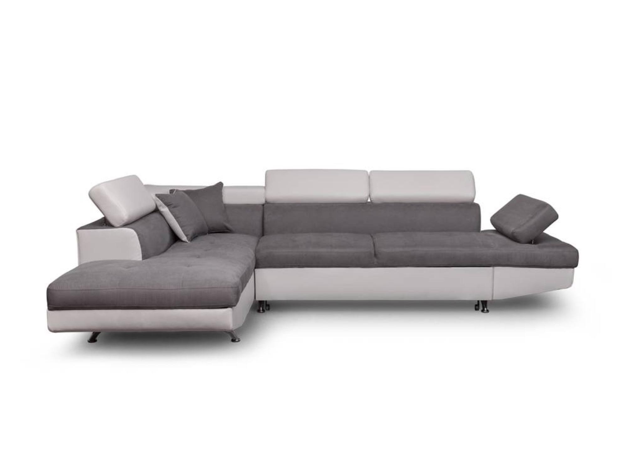 Canapé d'angle gauche convertible avec coffre blanc/gris