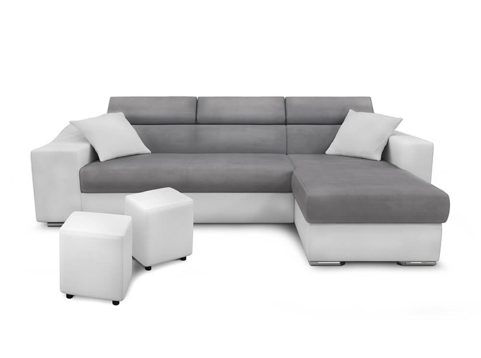 Canapé d'angle convertible blanc/gris avec niche de rangement gauche