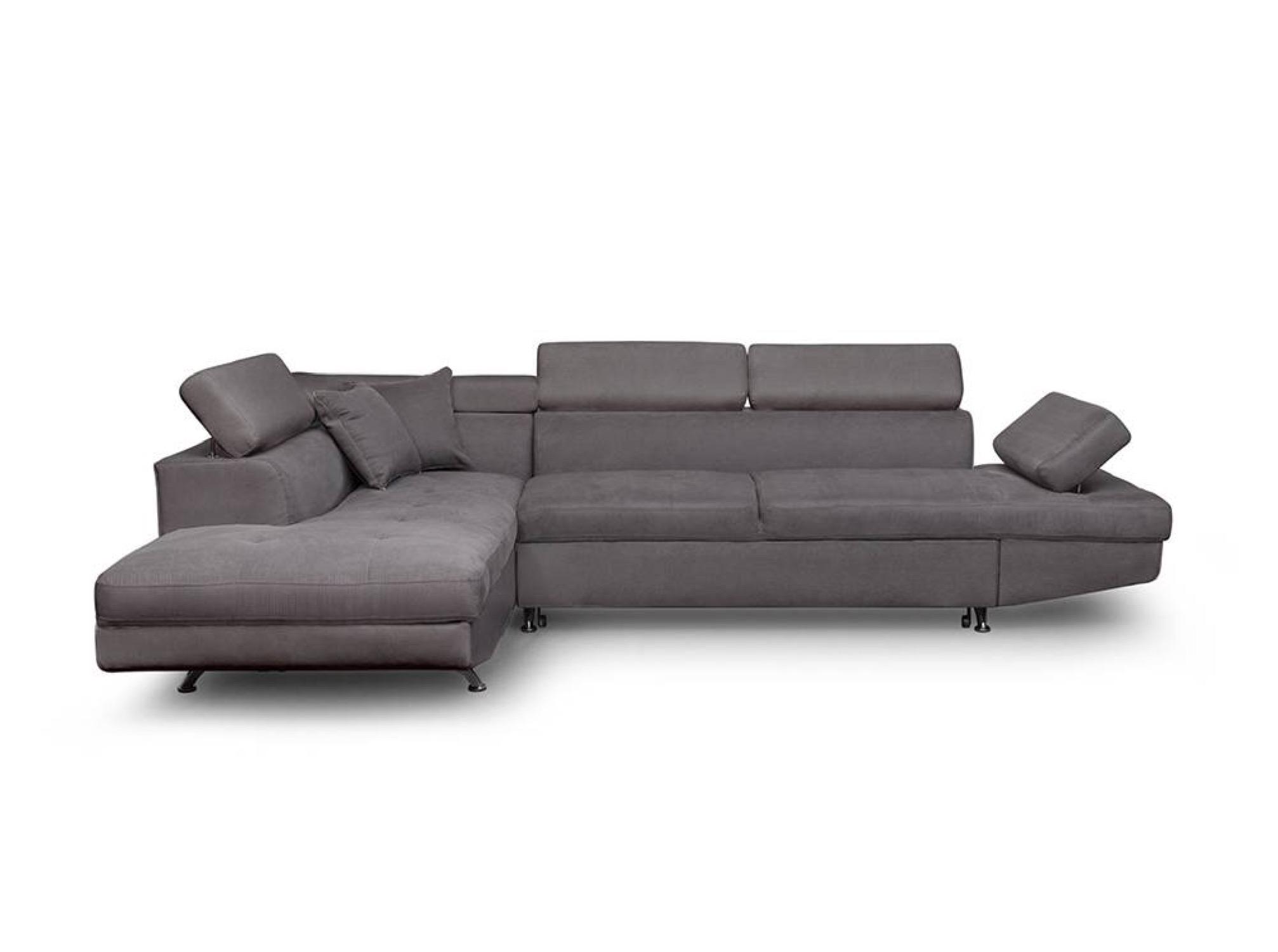 Canapé d'angle 5 places Gris Microfibre Contemporain Confort