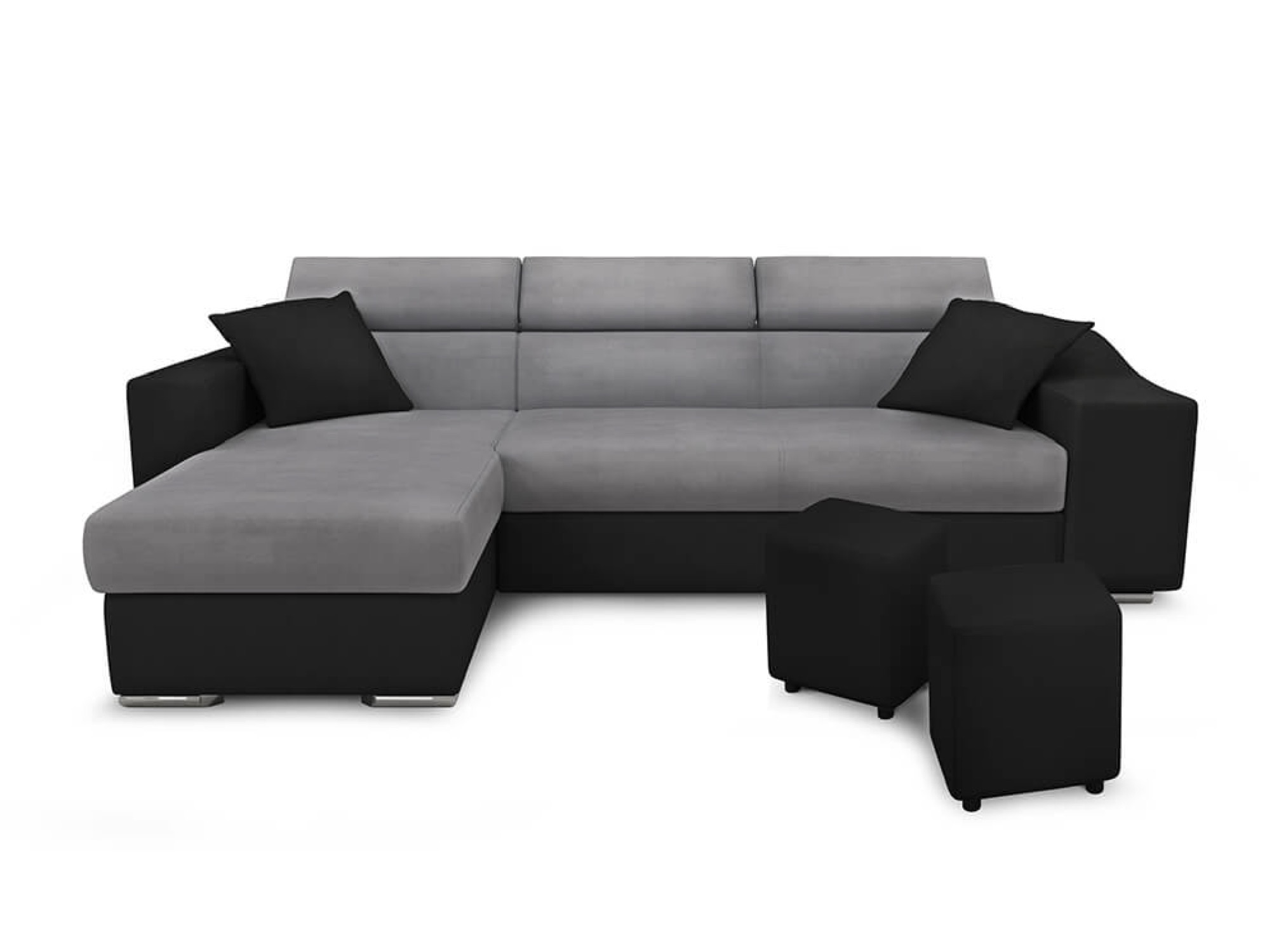 Canapé d'angle 4 places gris/noir avec rangement droit
