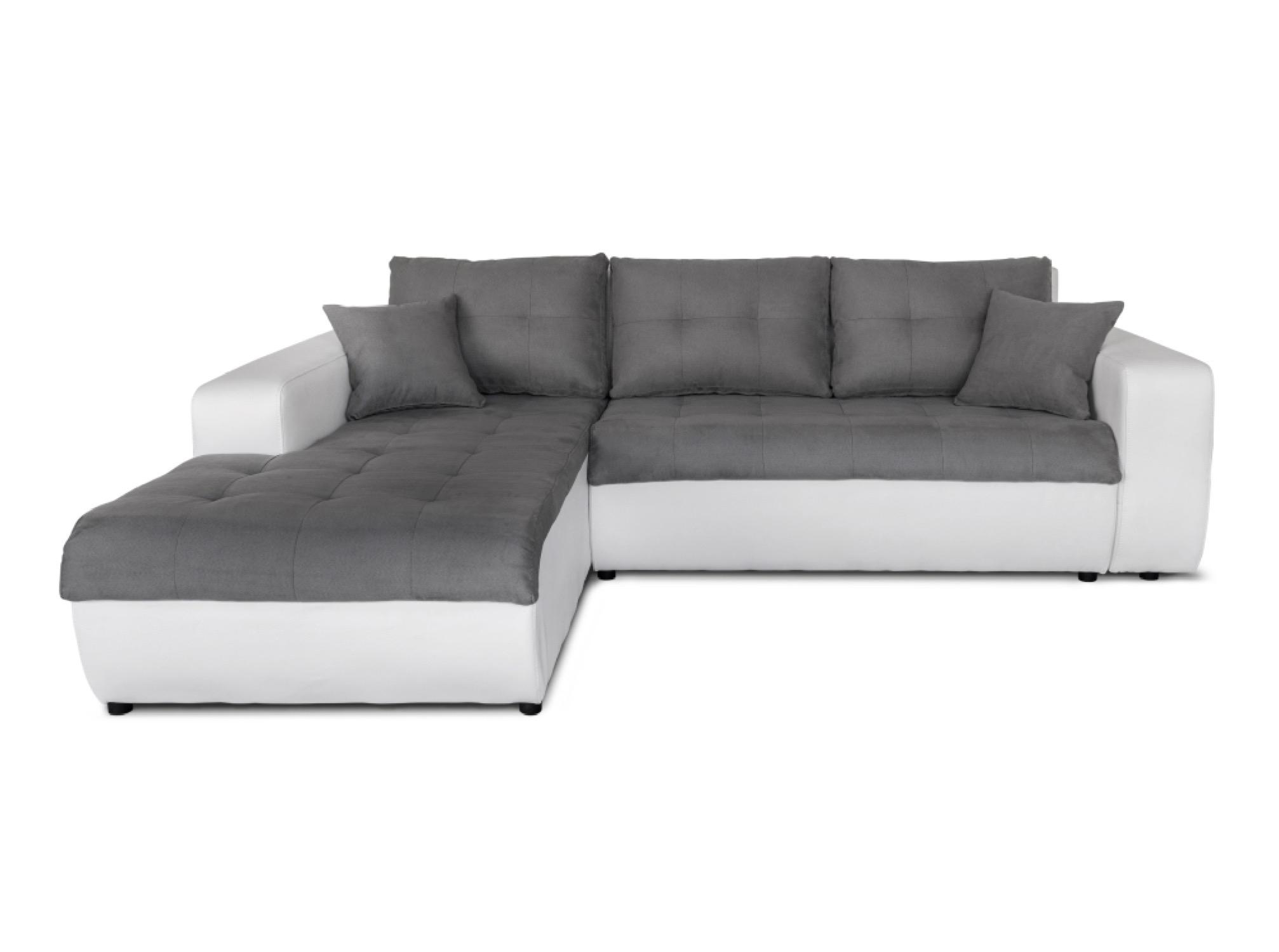 Canapé d'angle gauche convertible bi-matière blanc/gris