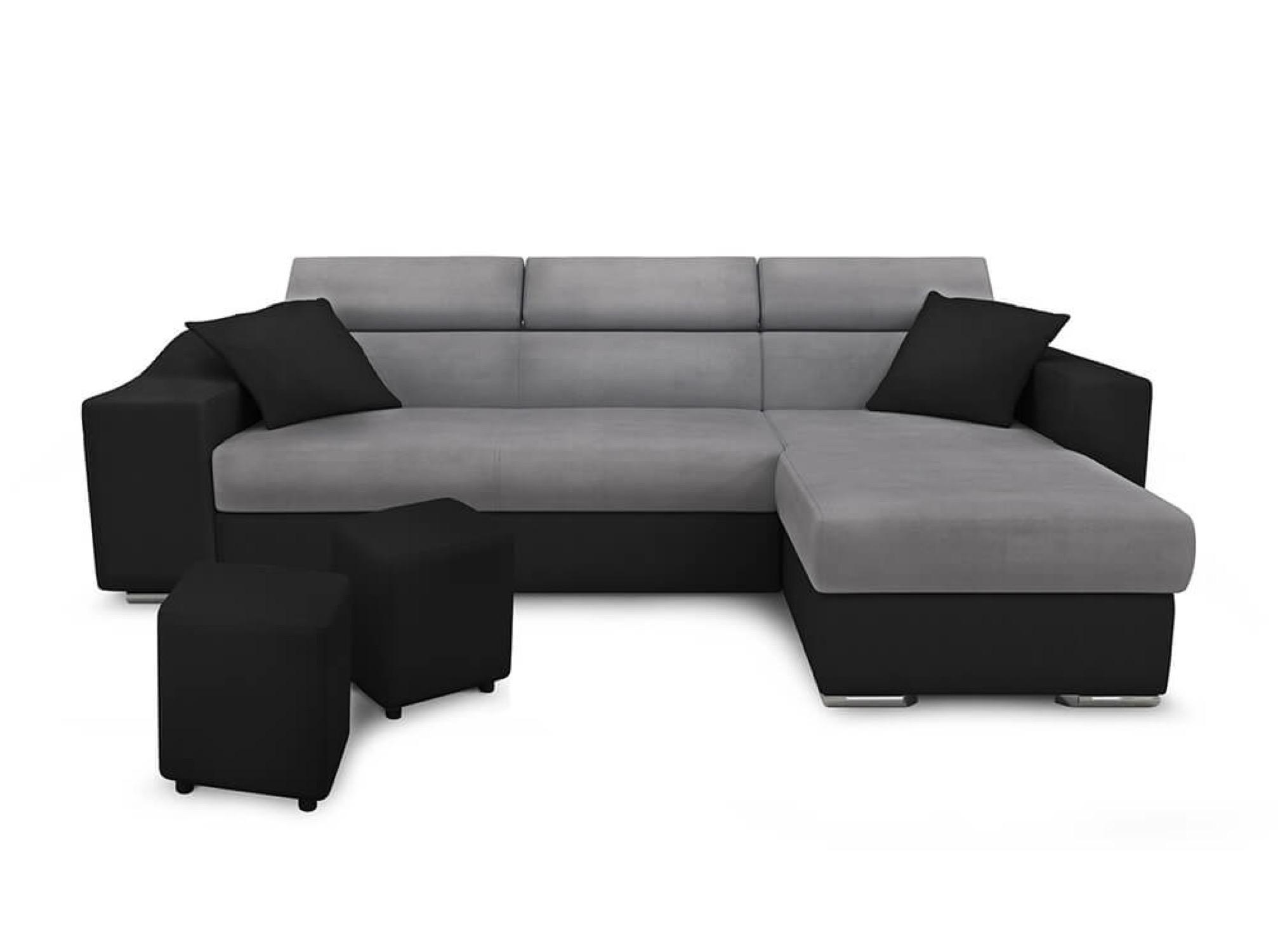 Canapé d'angle 4 places Noir Simili Moderne Confort