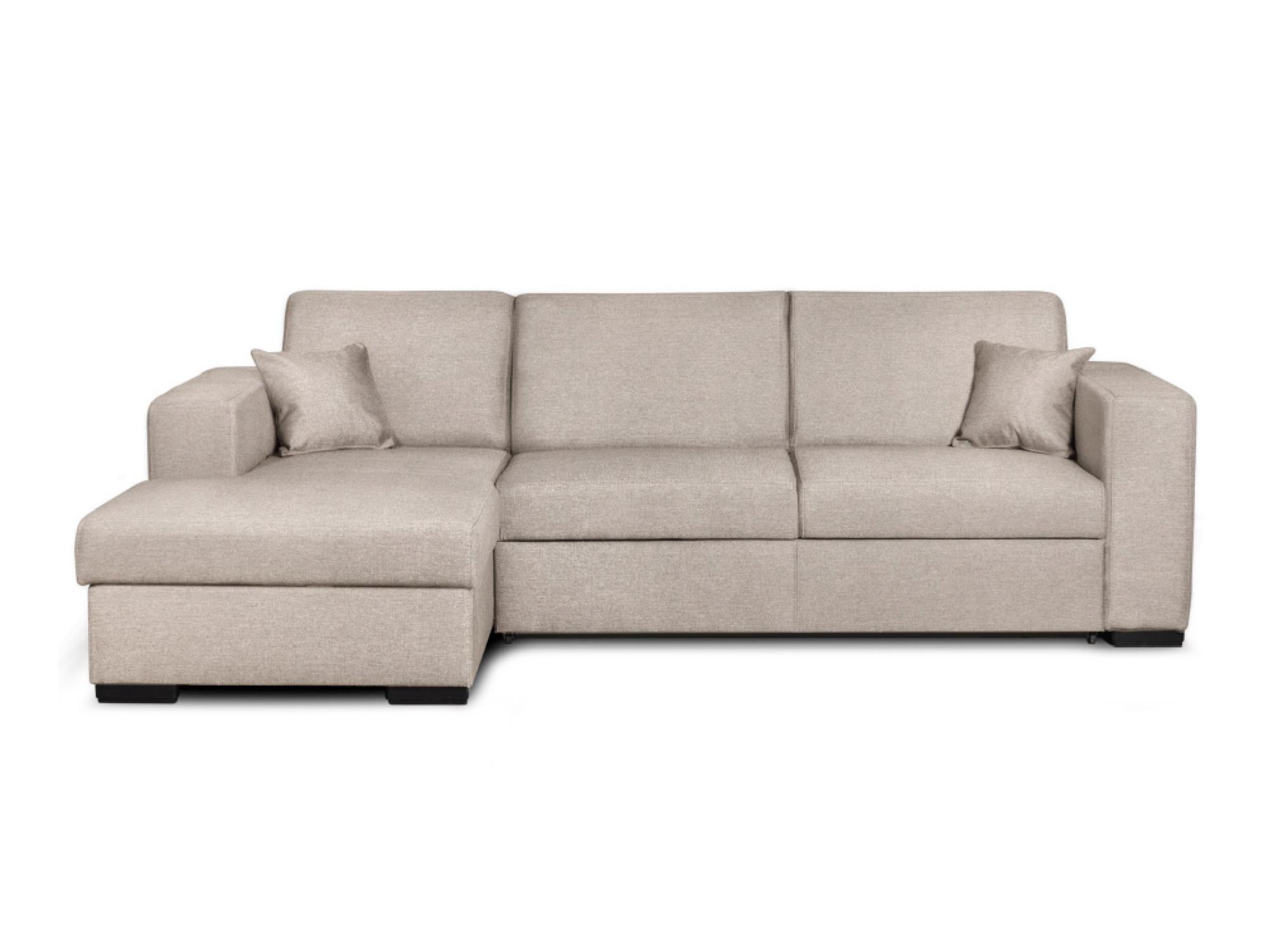 Canapé d'angle gauche convertible en tissu beige