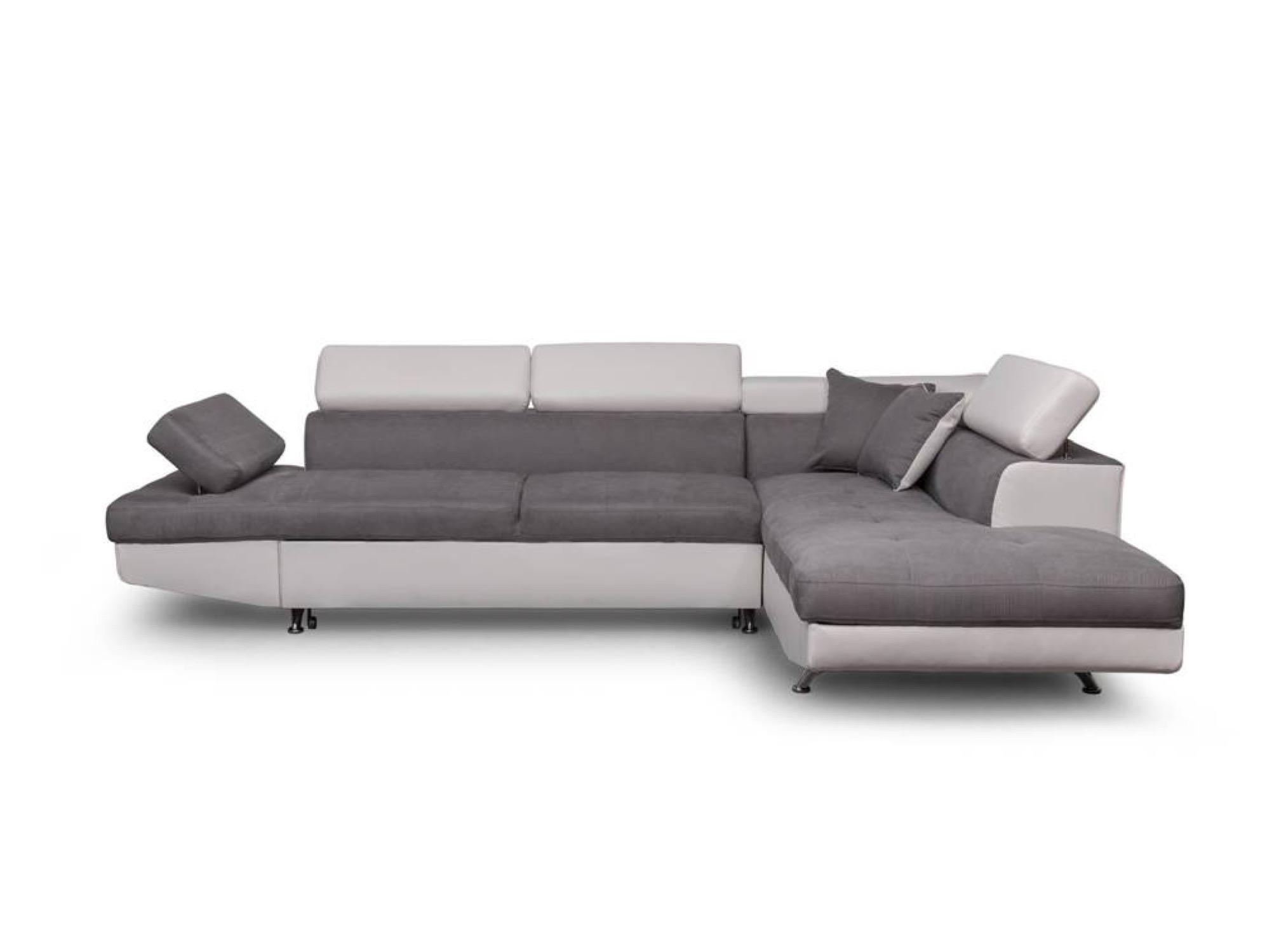 Canapé d'angle droit convertible avec coffre blanc/gris