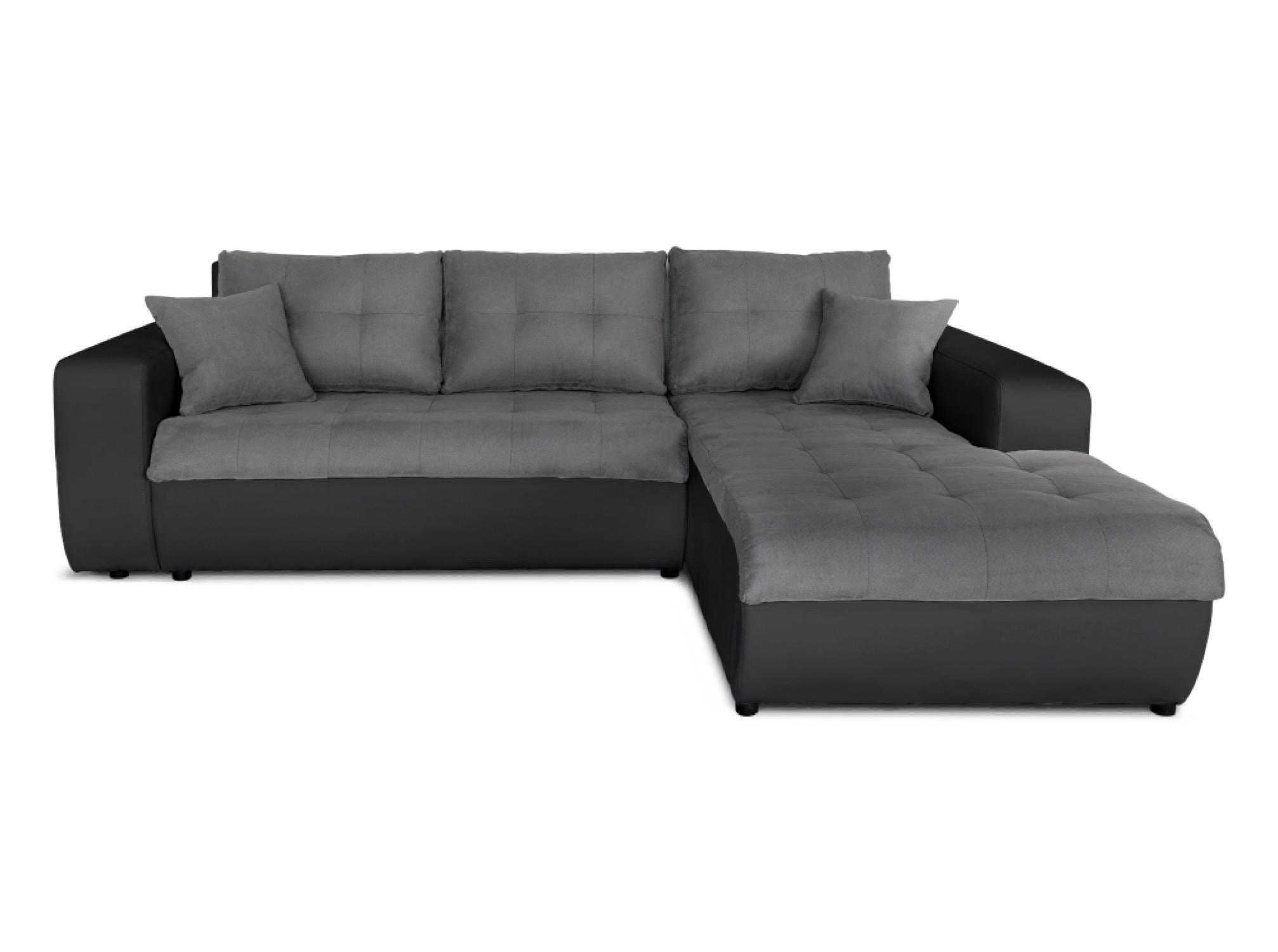 Canapé d'angle droit convertible bi-matière noir/gris