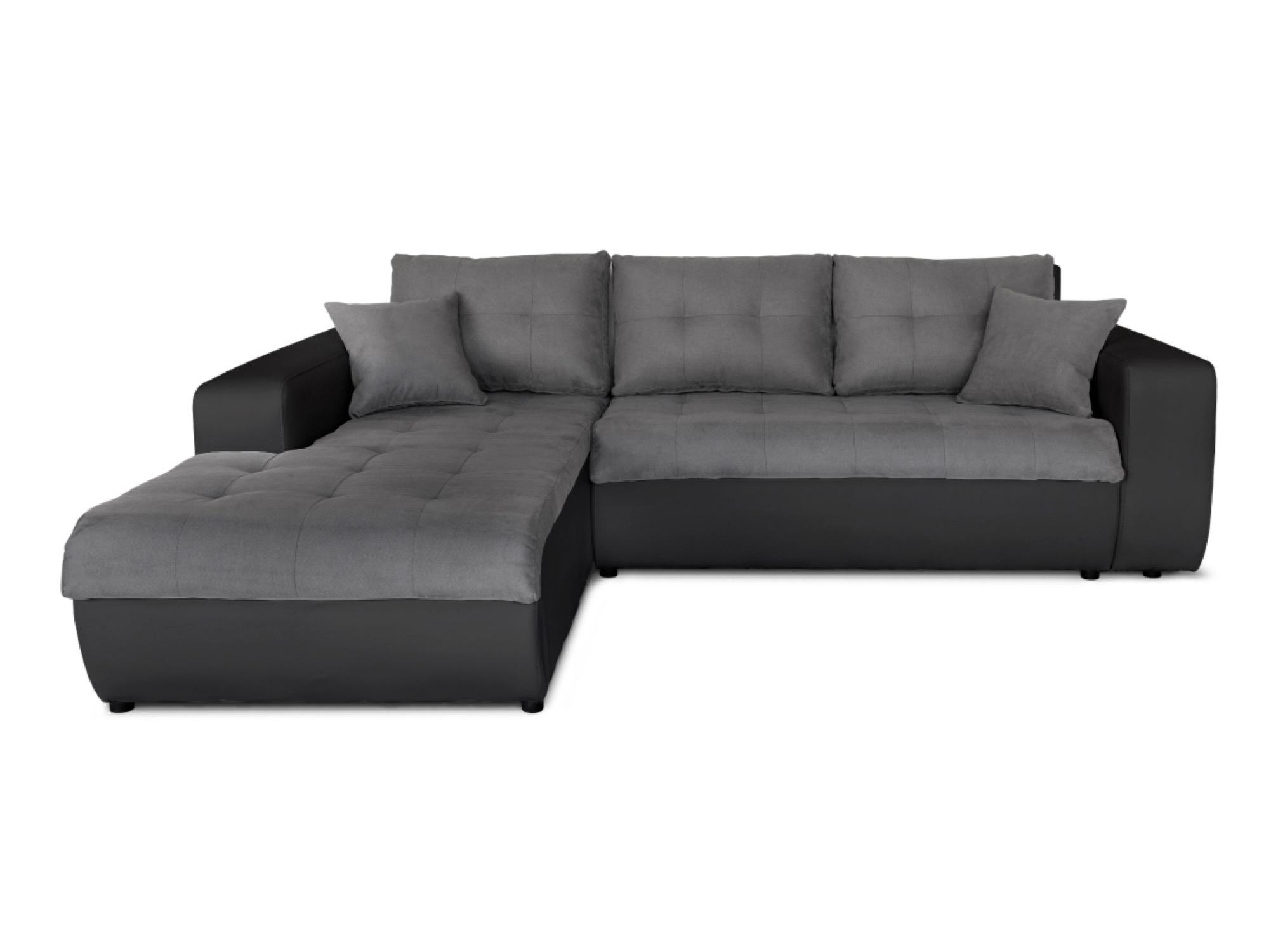 Canapé d'angle gauche convertible bi-matière noir/gris