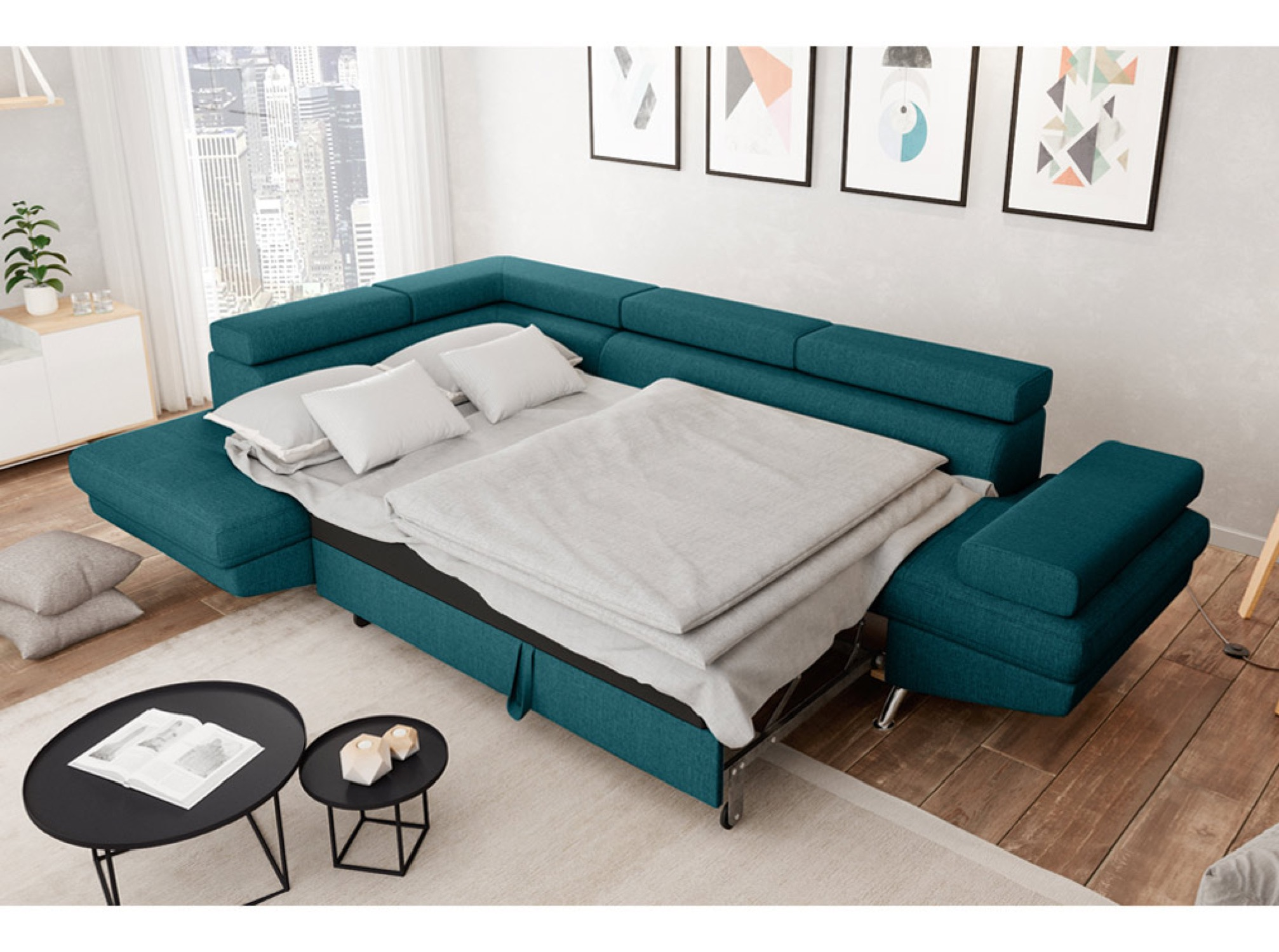 Canapé d'angle gauche convertible avec coffre en tissu bleu canard