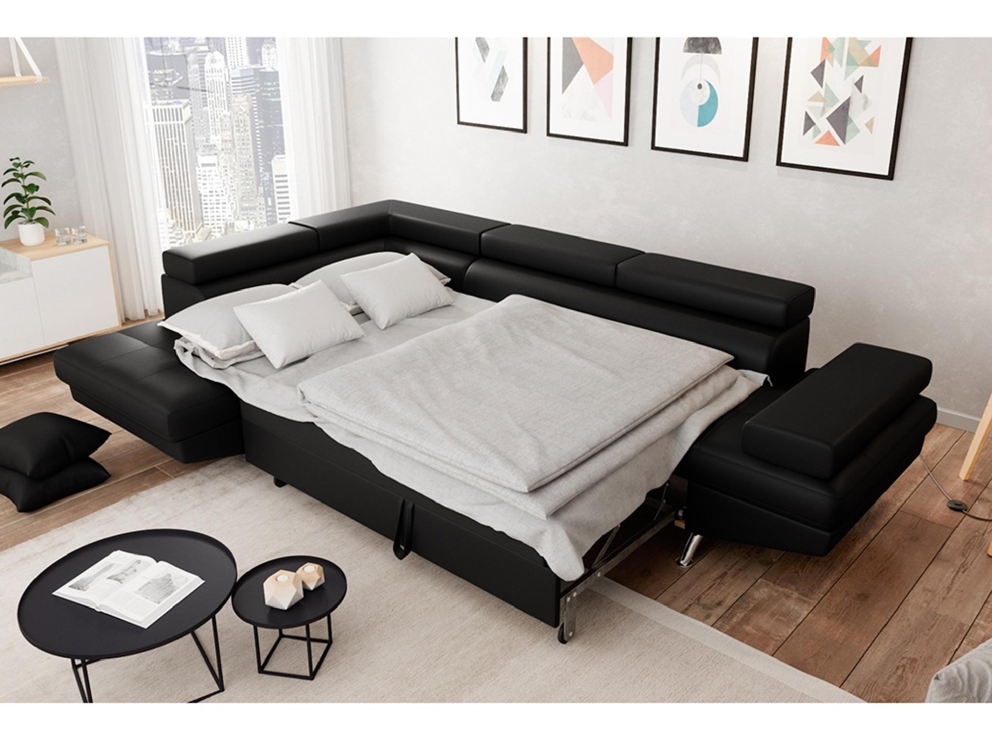 Canapé d'angle gauche convertible avec coffre noir
