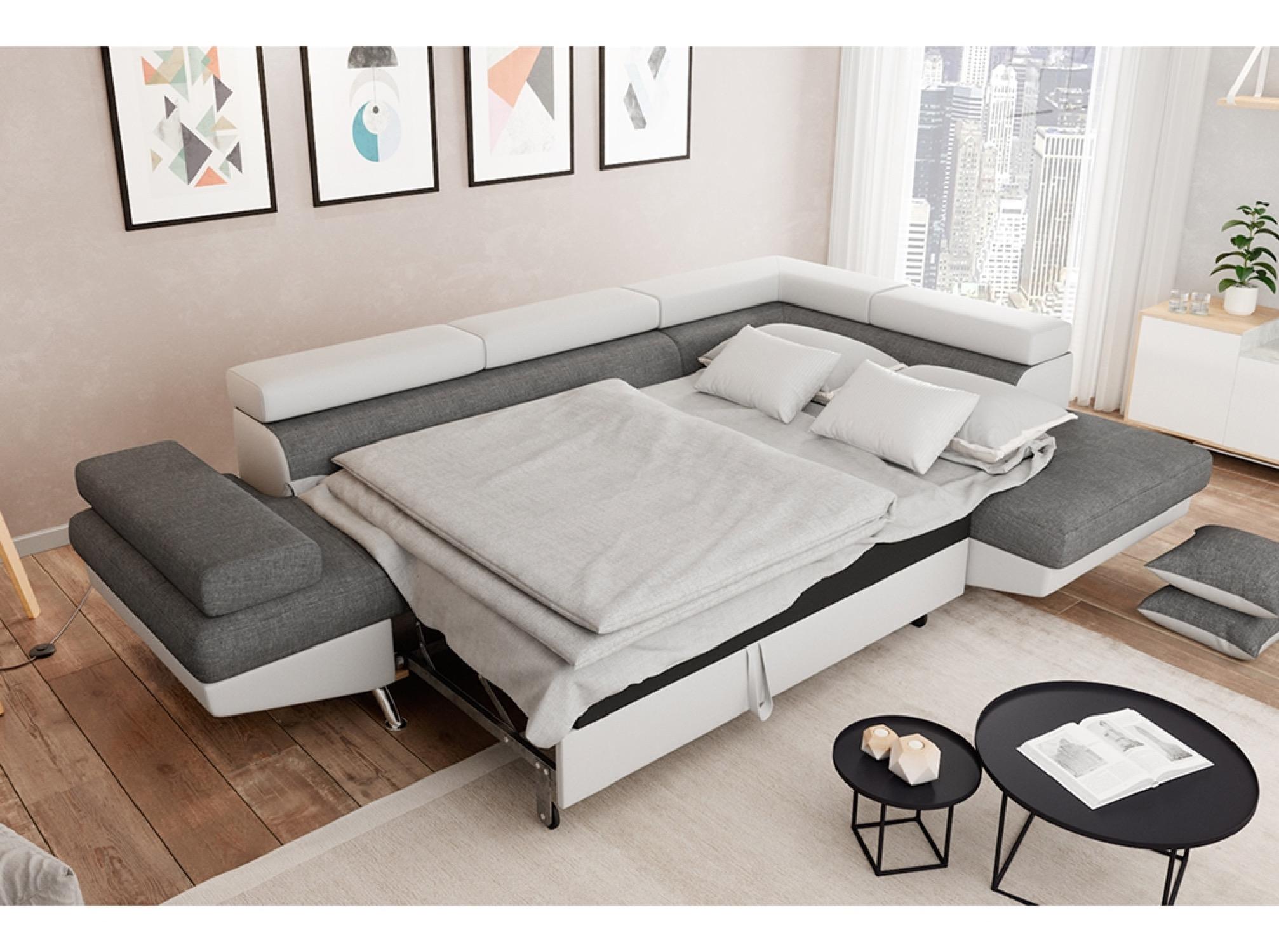 Canapé d'angle droit convertible avec coffre bi-matière blanc/gris
